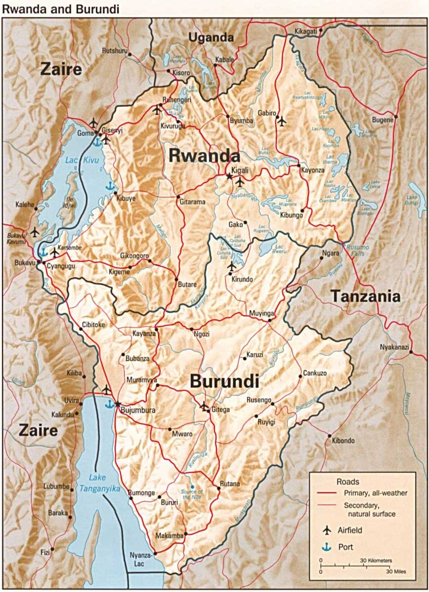 Rwanda And Burundi Map Relief large map