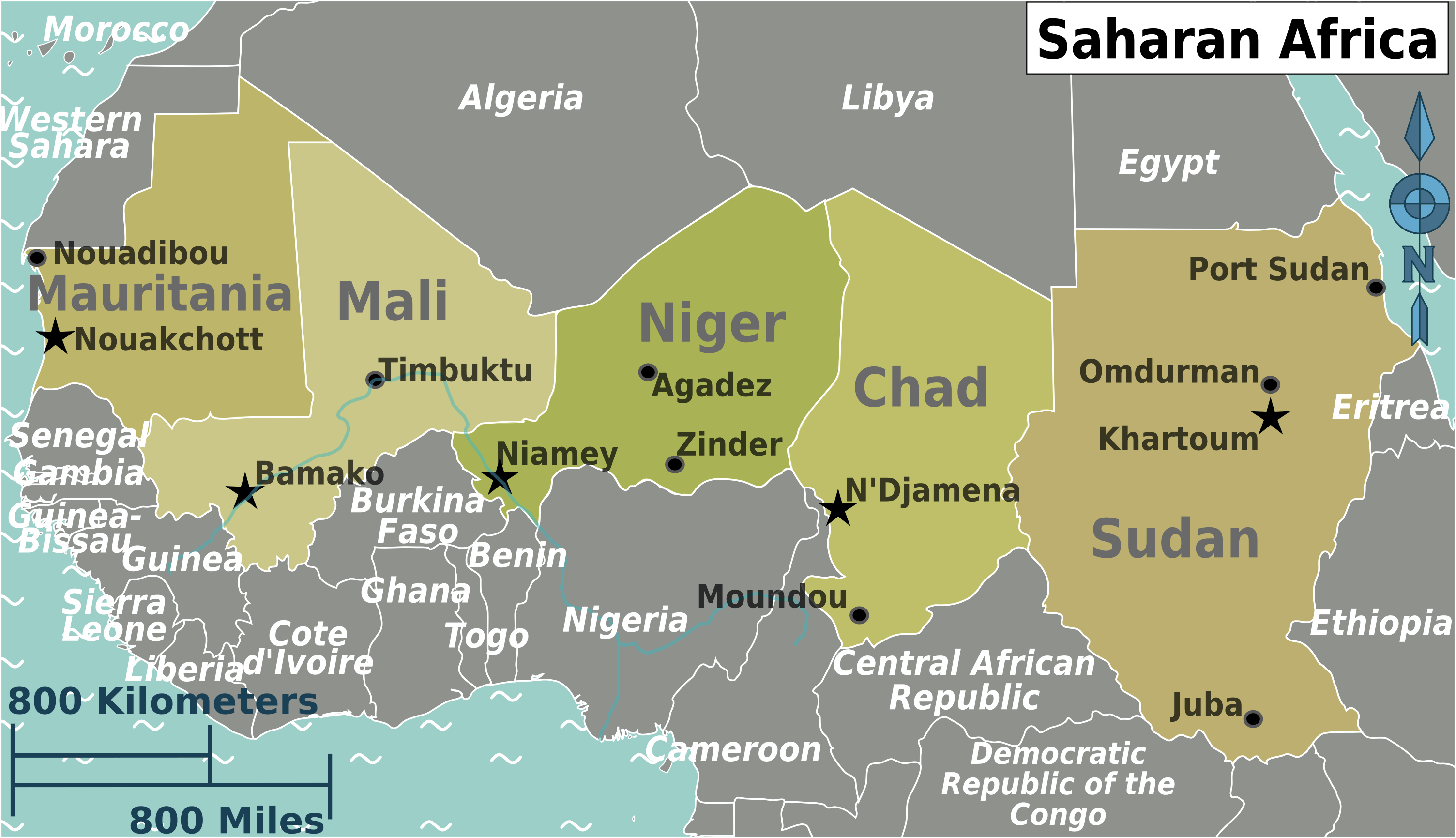 Saharan Africa Regions Map Mapsofnet