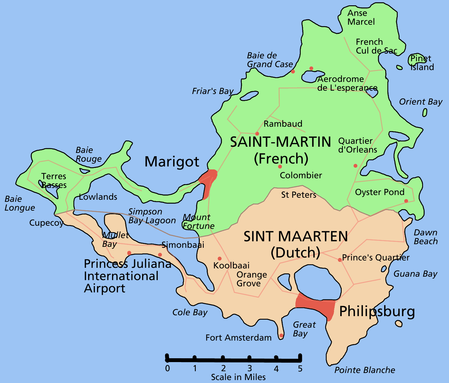 Saint Martin Island Map large map