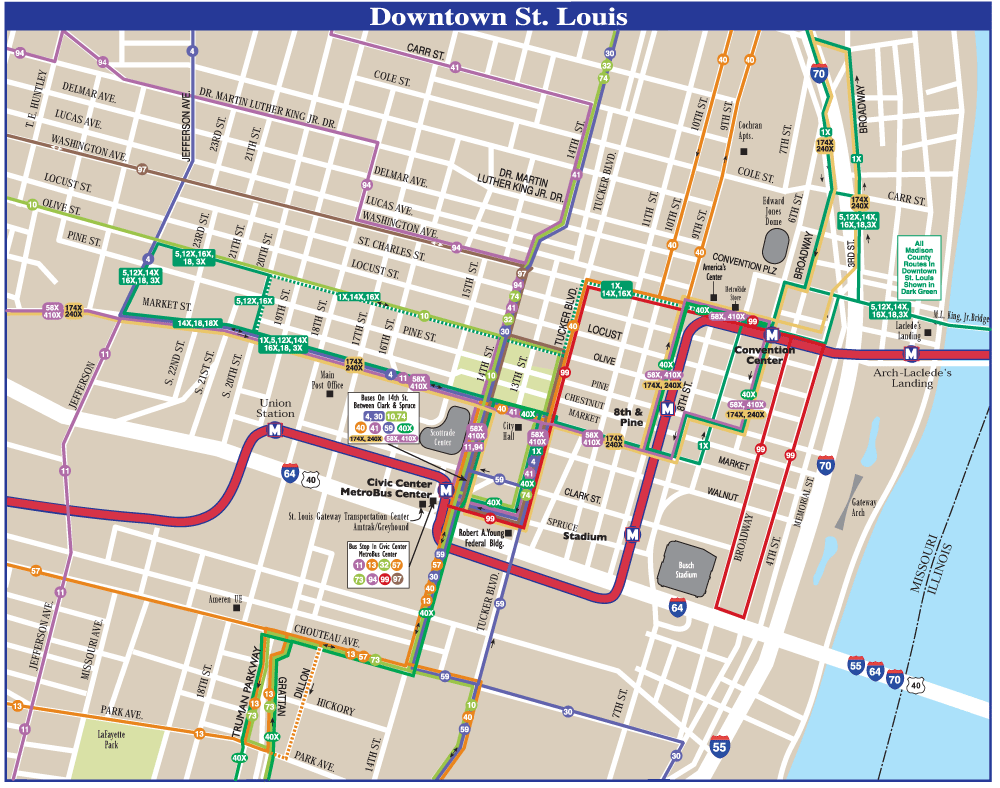 Saint Louis Downtown Transport Map • Mapsof.net