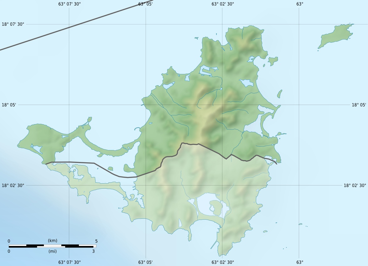 Saint Martin Collectivity Relief Location Map