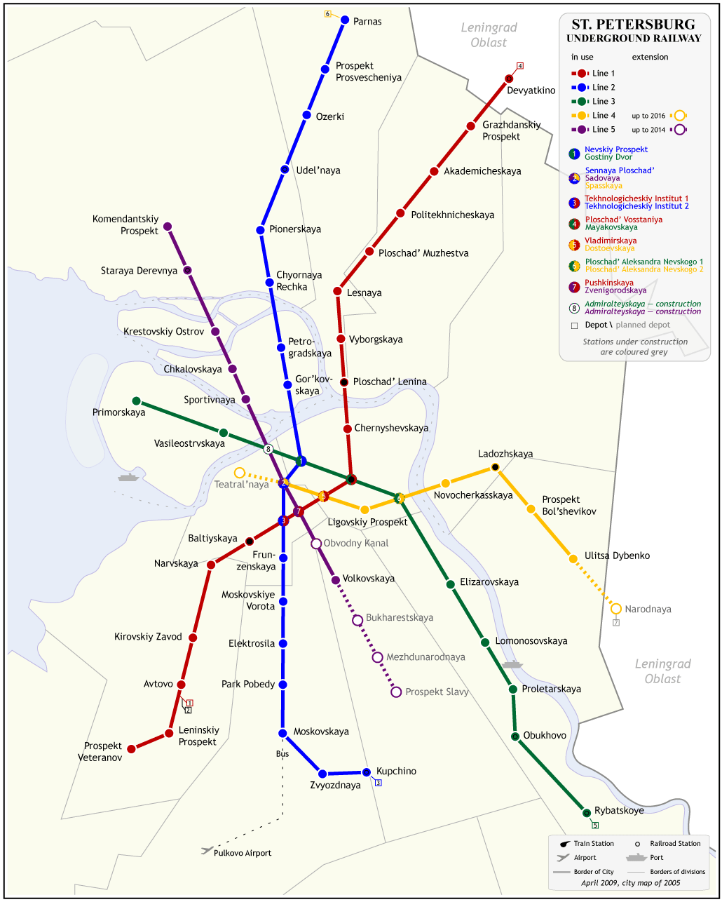 Saint Petersburg Metro System Map large map