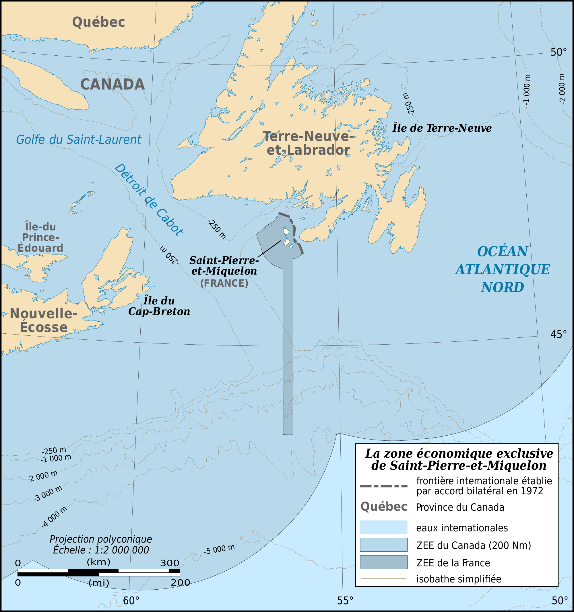Saint Pierre And Miquelon Eez Map Fr large map