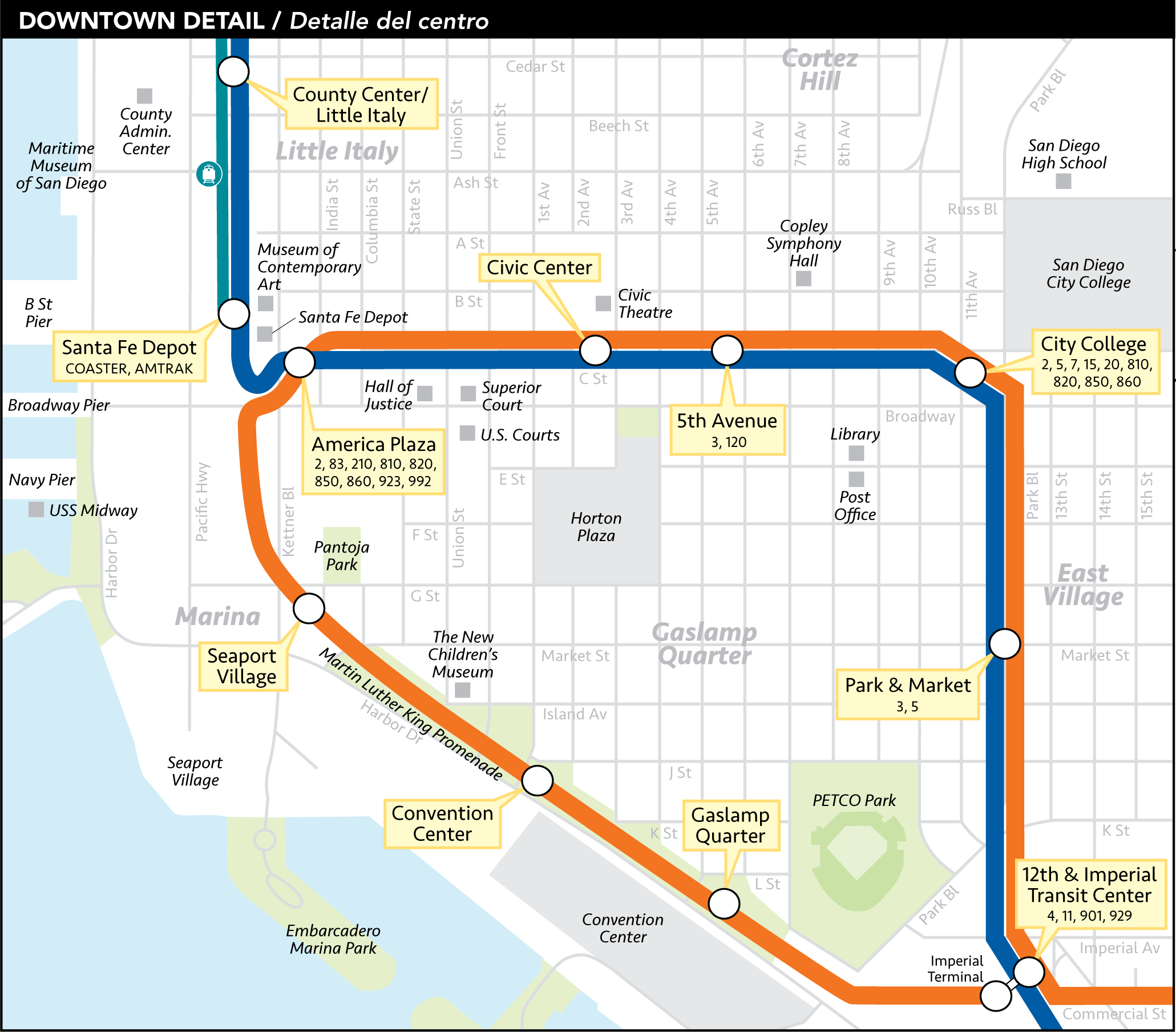 San Diego Map Downtown.San Diego Downtown Metro System Map Trolley Mapsof Net