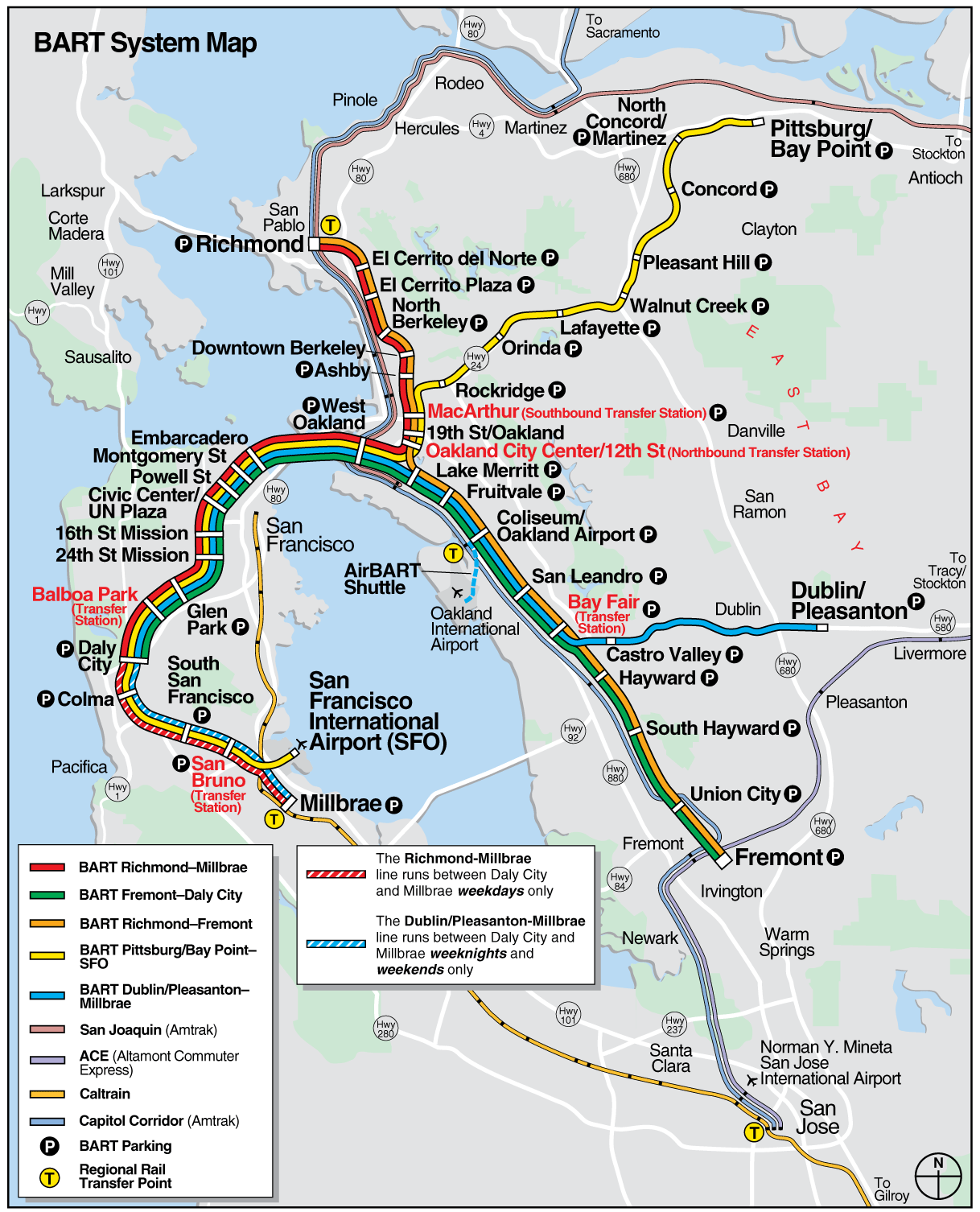 San Francisco Bart System Map Railway Mapsofnet - San francisco rail map