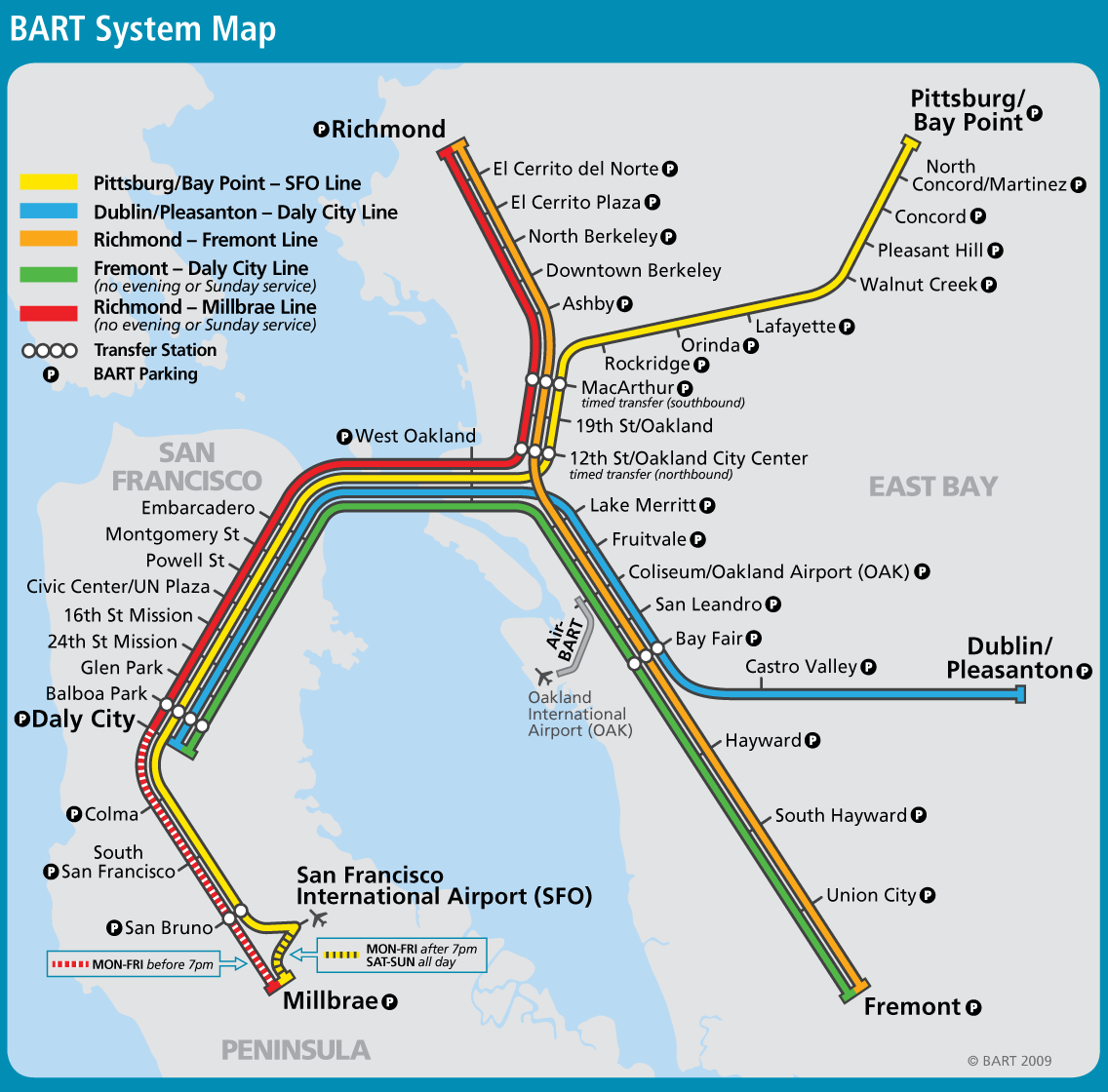 San Francisco Bay Area Metro Map bartl Mapsofnet
