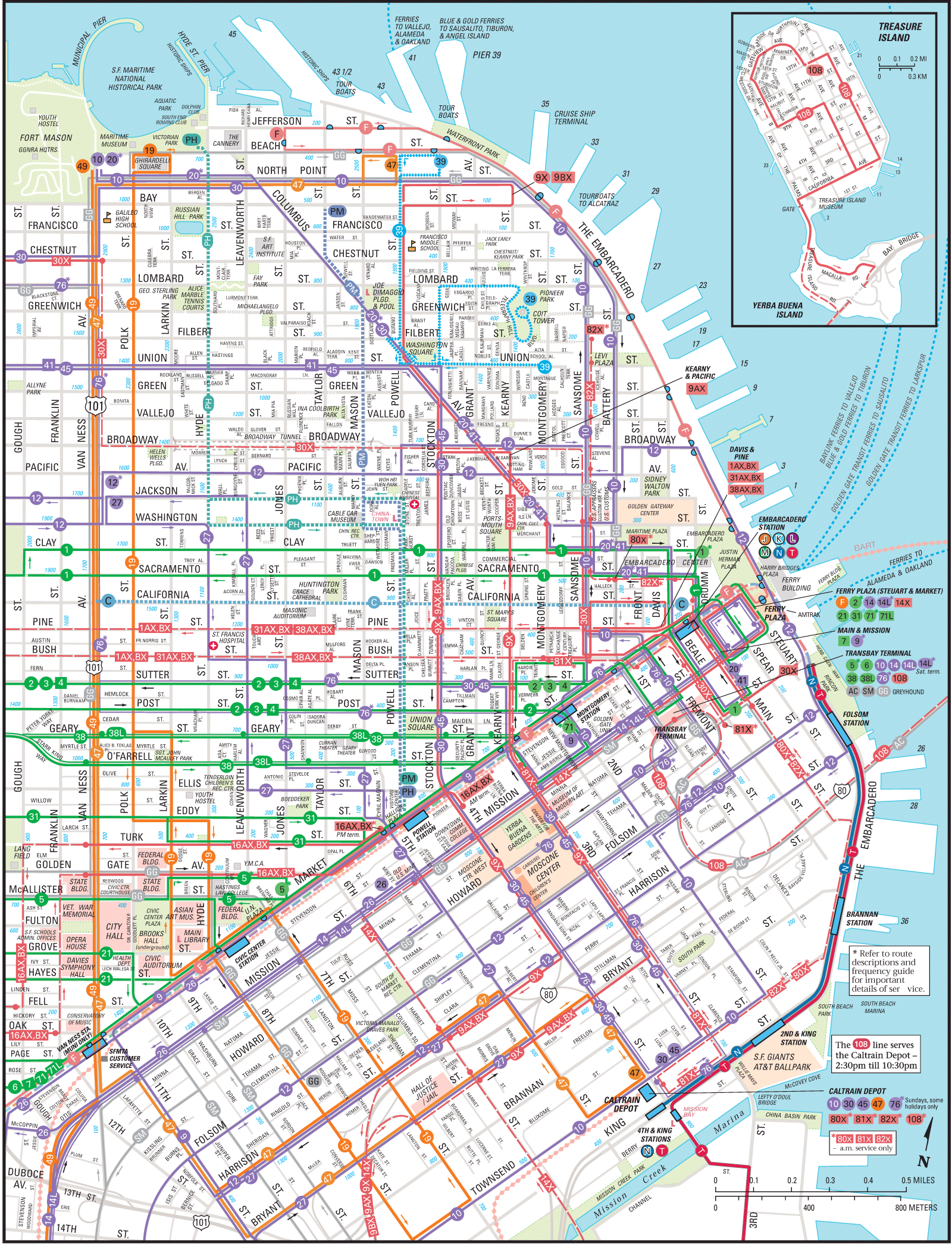 San Francisco Downtown Transport Map Mapsofnet