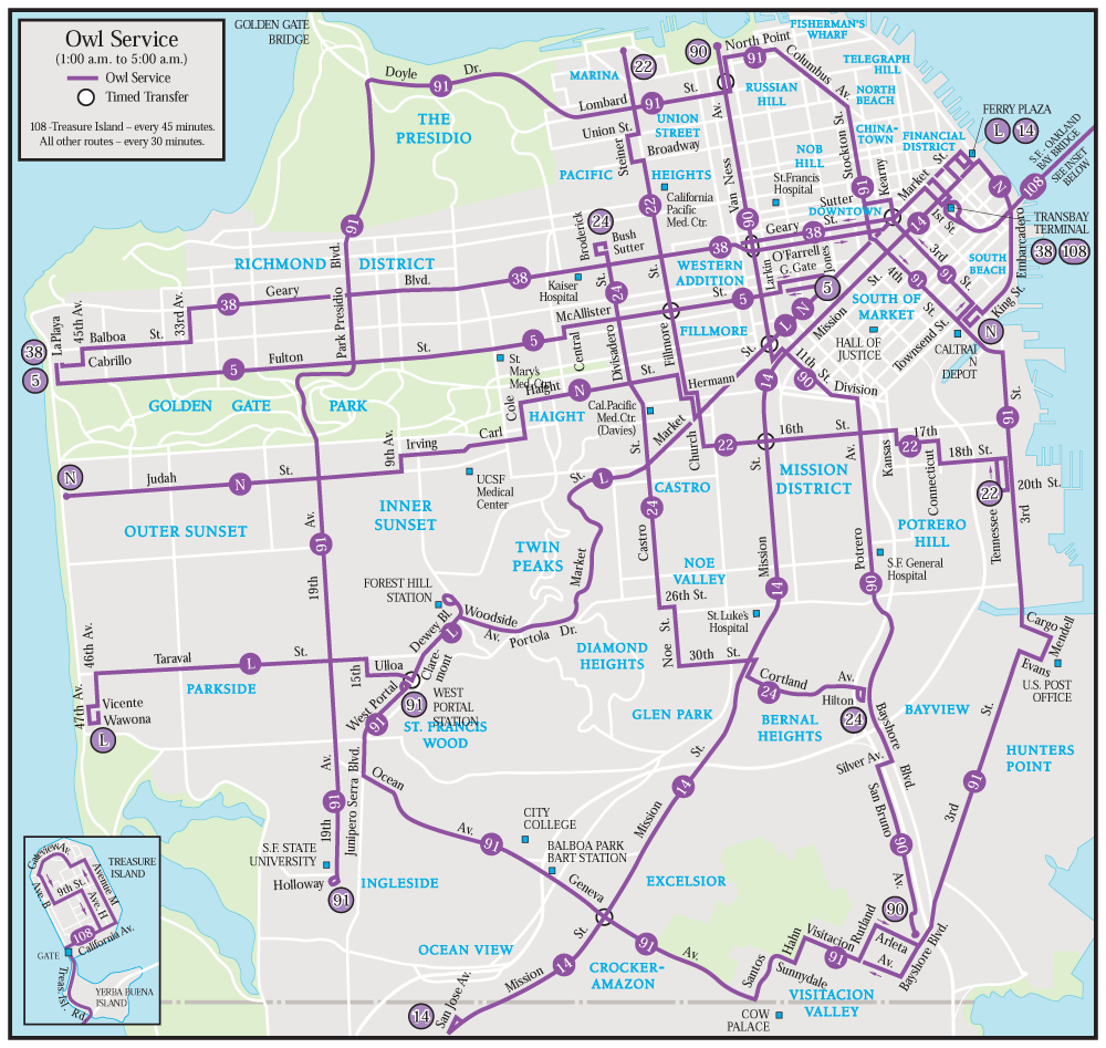 San Francisco Night Bus Map (owl) large map