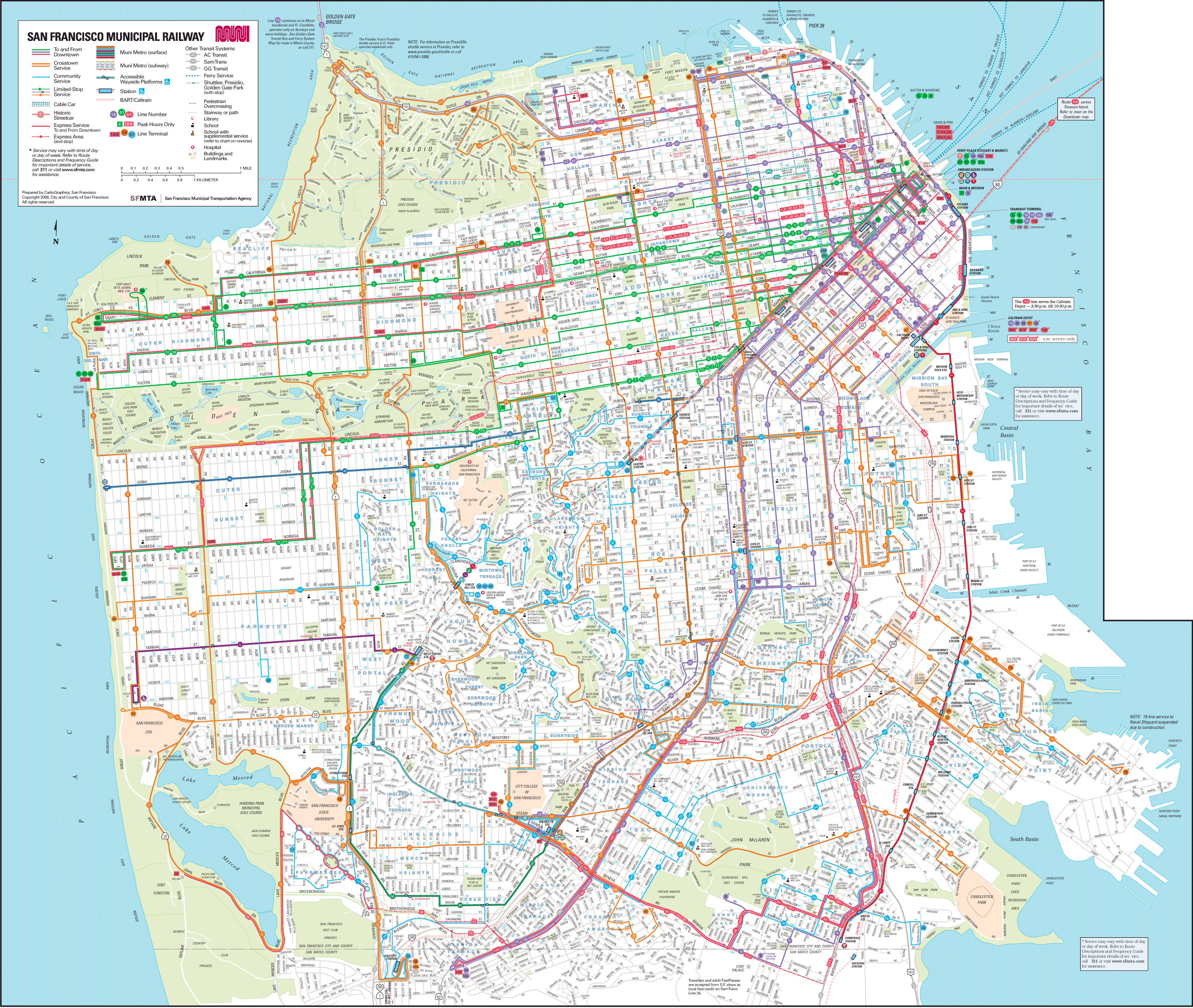San Francisco Transport Map large map