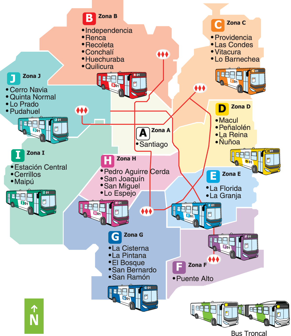 Santiago Bus Route Map Mapsofnet