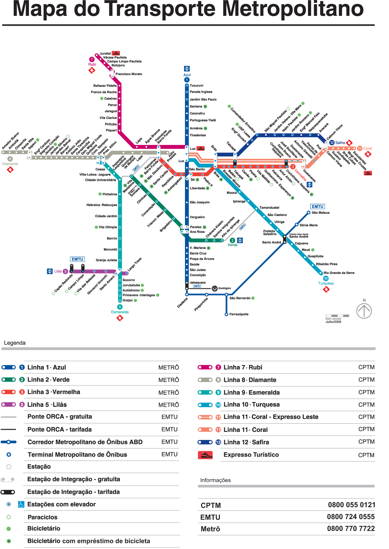 Sao Paulo Metro Map subway Mapsofnet