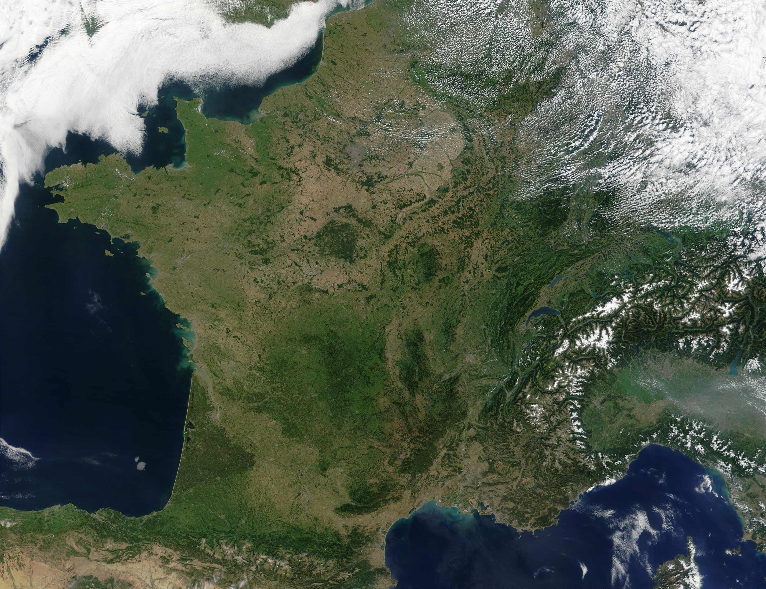 Satellite Image of France large map