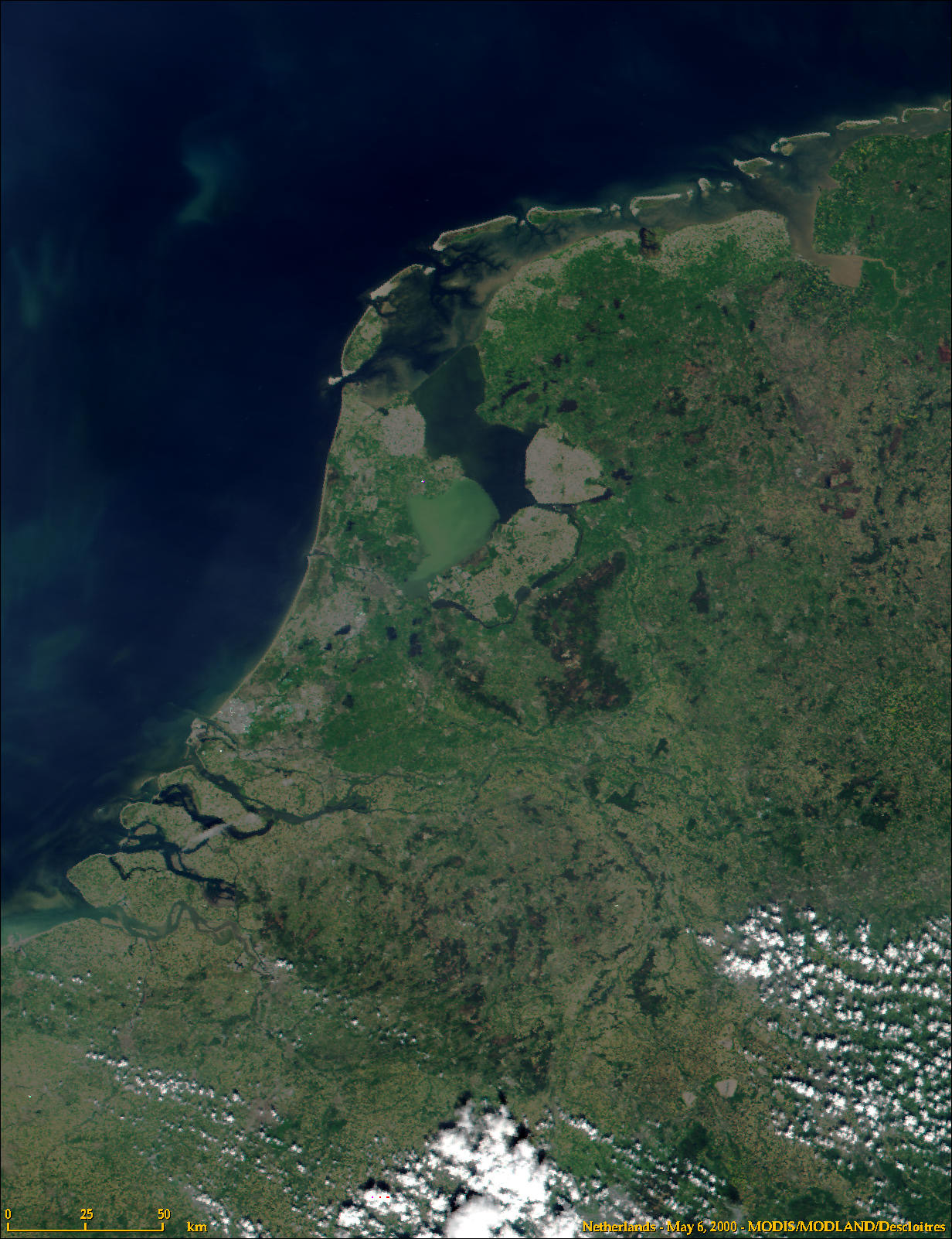 Satellite Image of the Netherlands large map