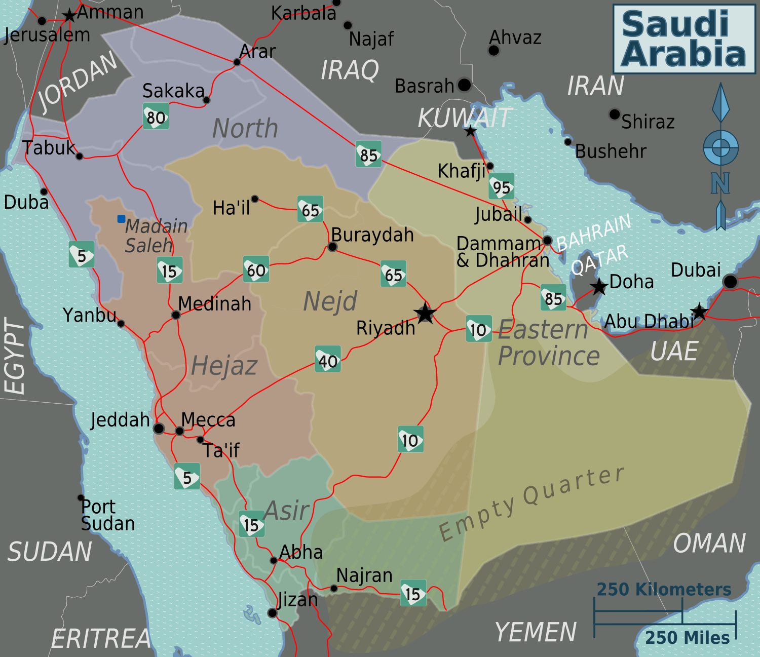 Saudi Arabia Regions Map large map