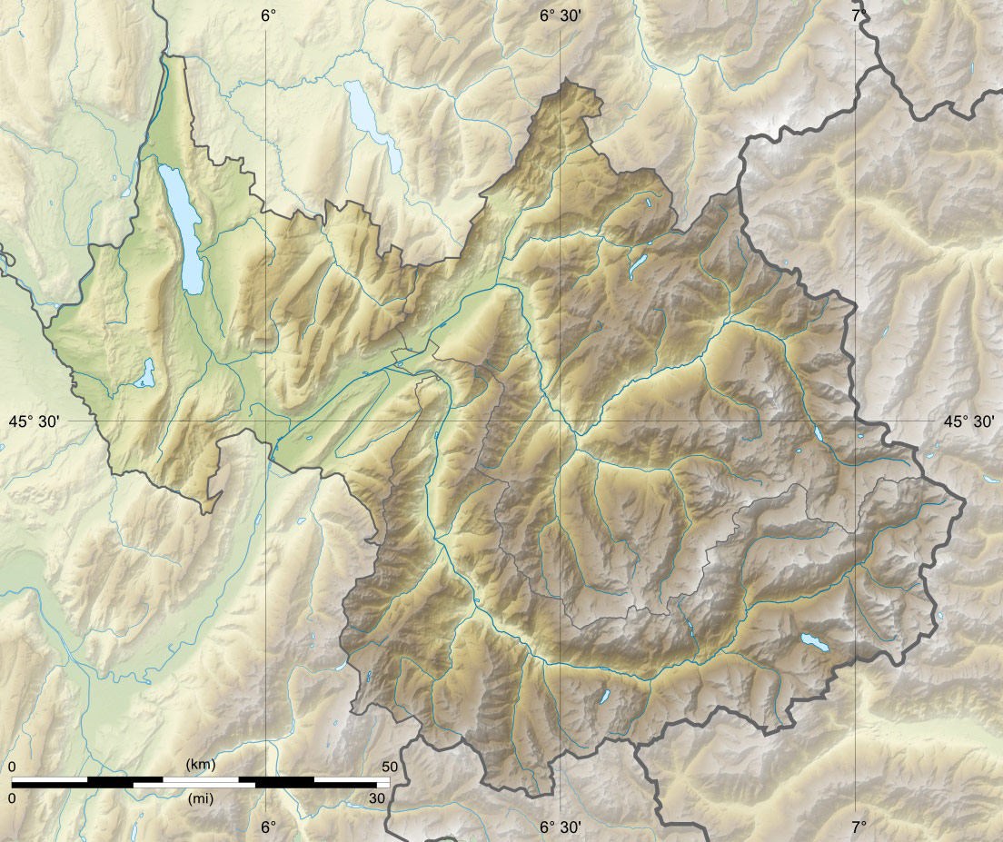 Savoie Department Relief Location Map large map