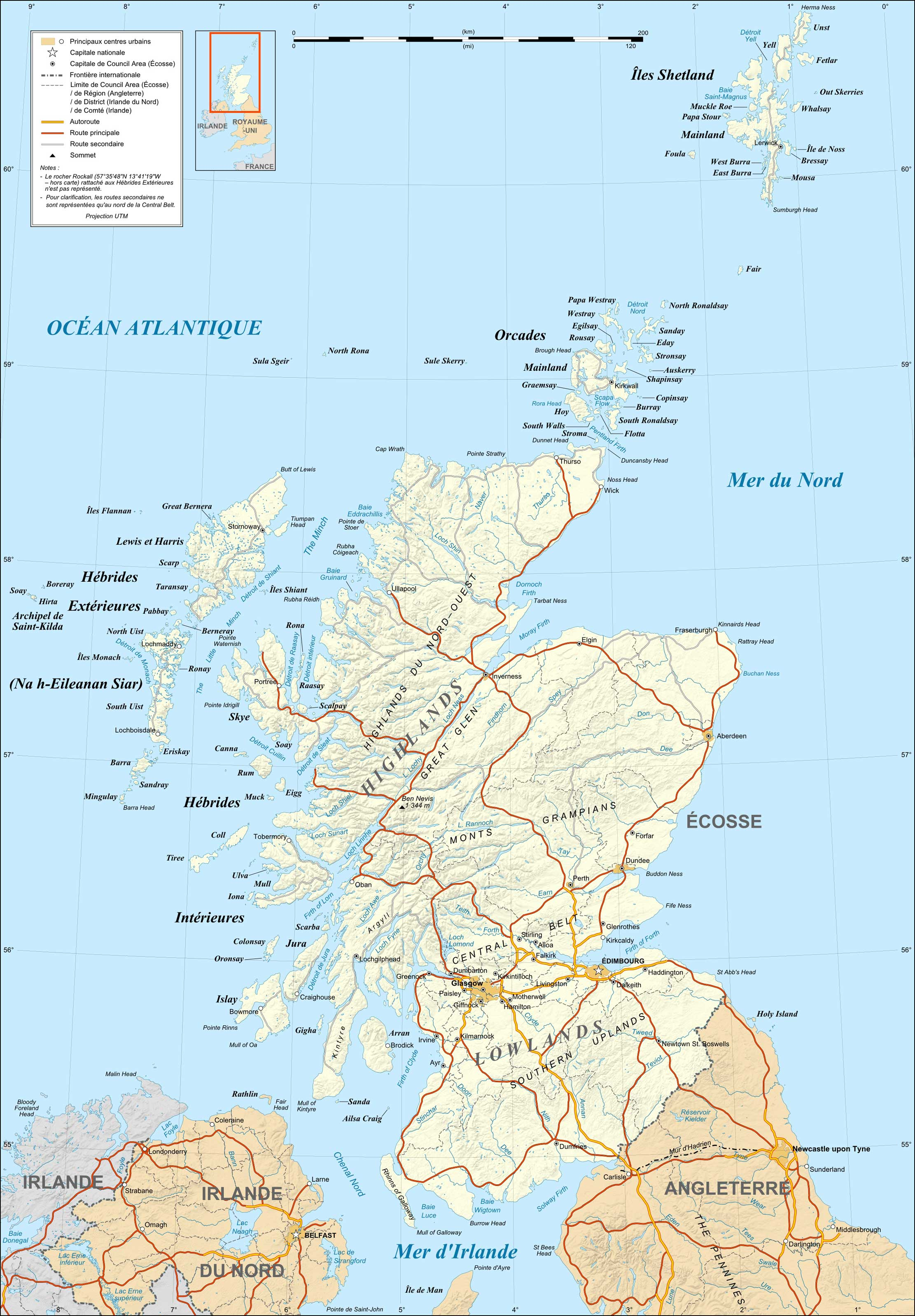 Scotland Map French large map