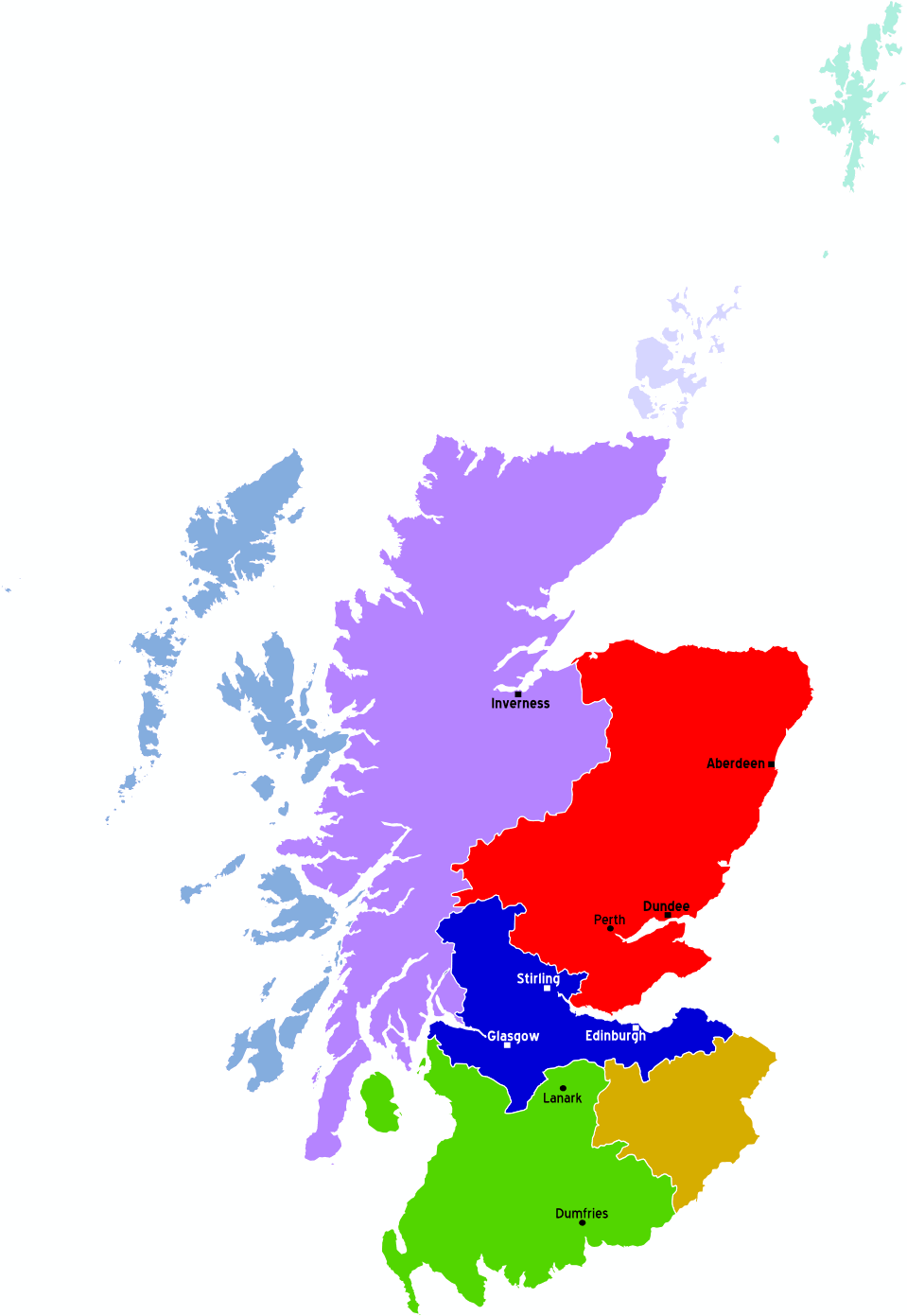Scotland Regions Map large map