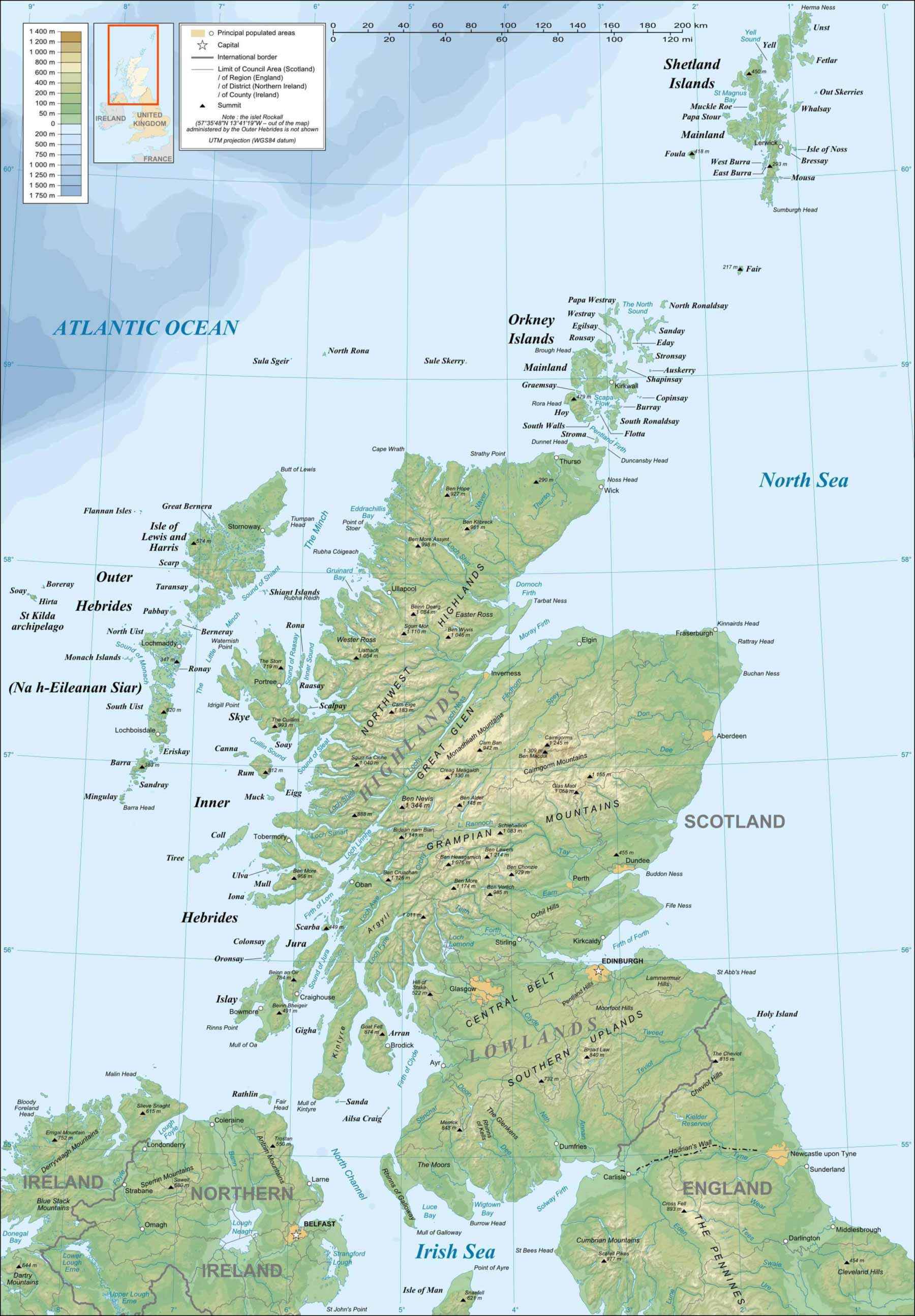 Scotland Topographic Map Mapsofnet - Topographic map of united kingdom