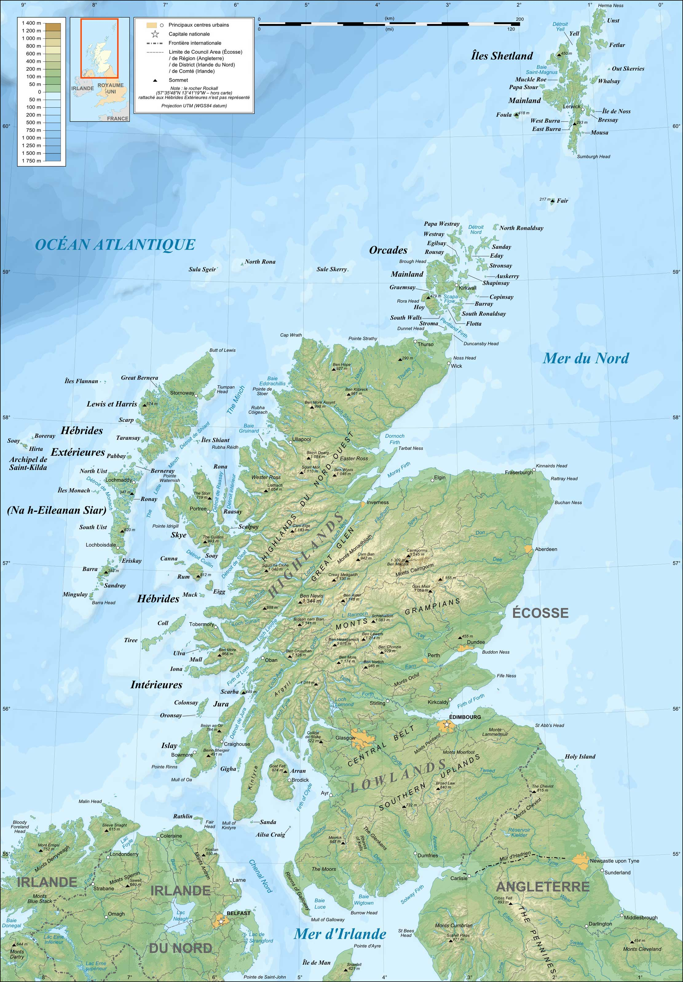 Scotland Topographic Map French large map