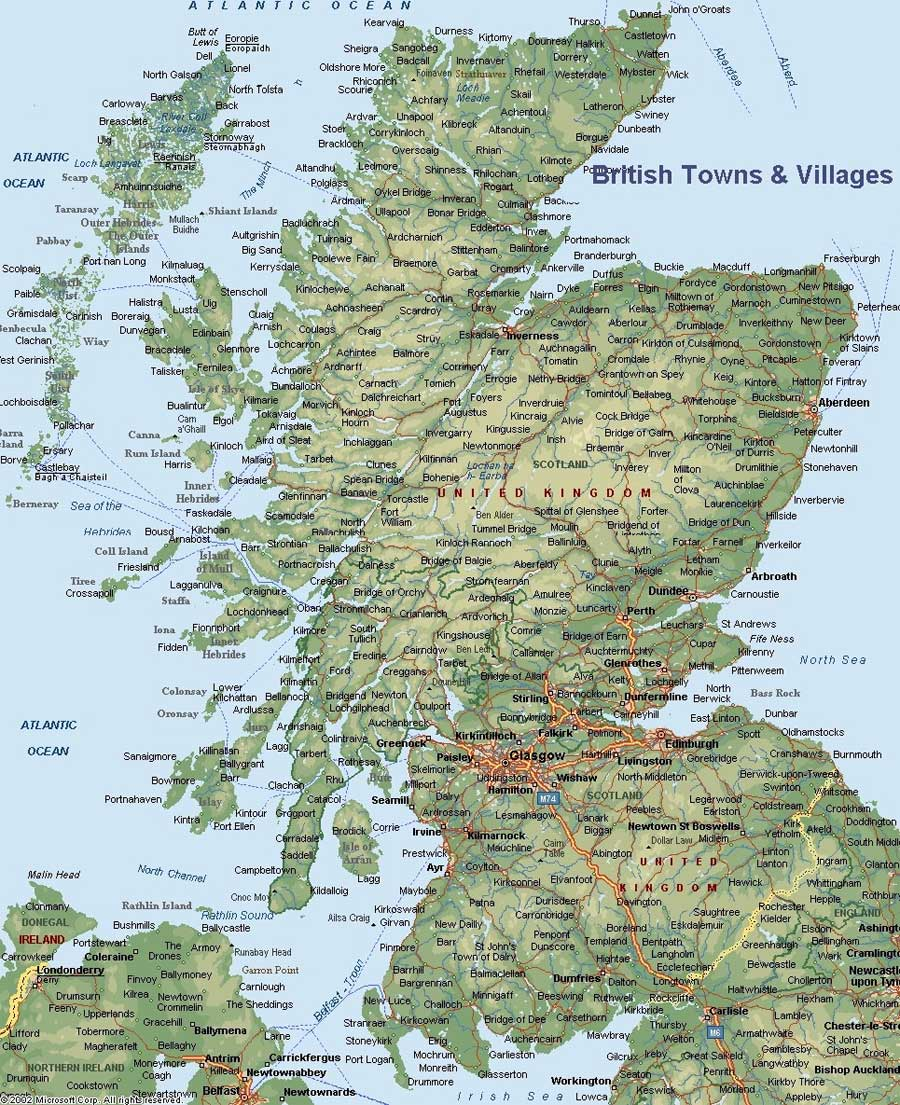Scotland Uk Map large map