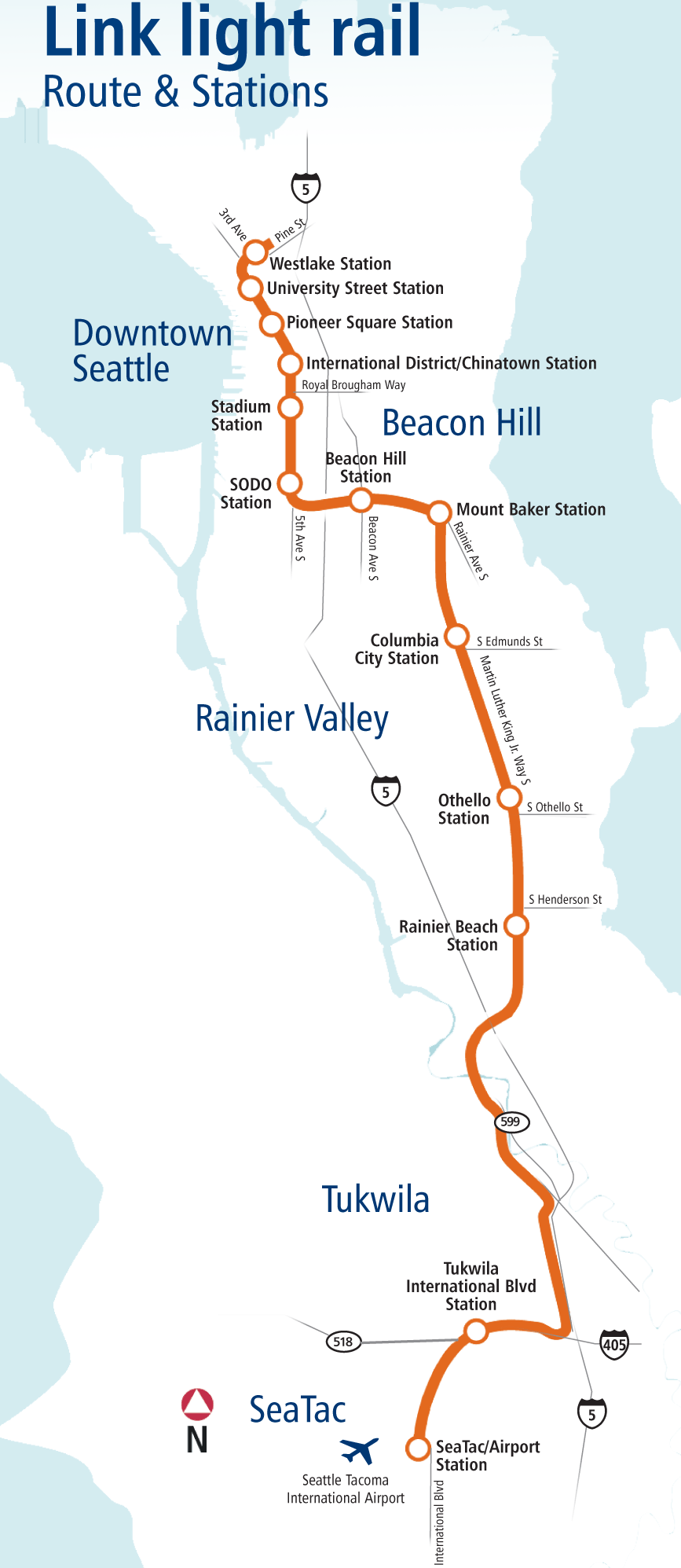 Seattle Light Rail Map metro Mapsofnet