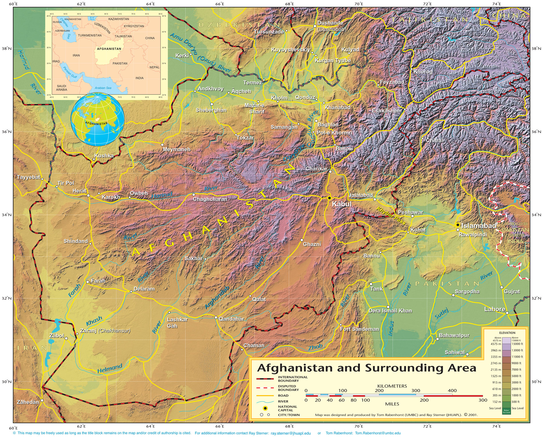Shaded Relief Map Of Afghanistan (political) large map