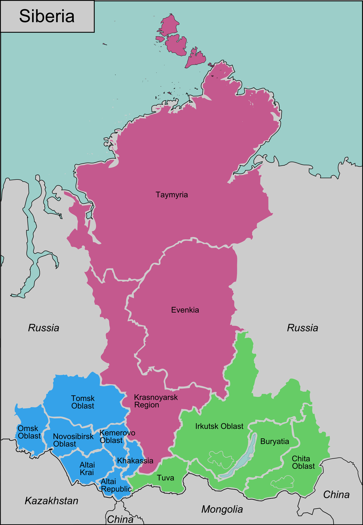 click on the siberia regions . siberia regions • mapsofnet