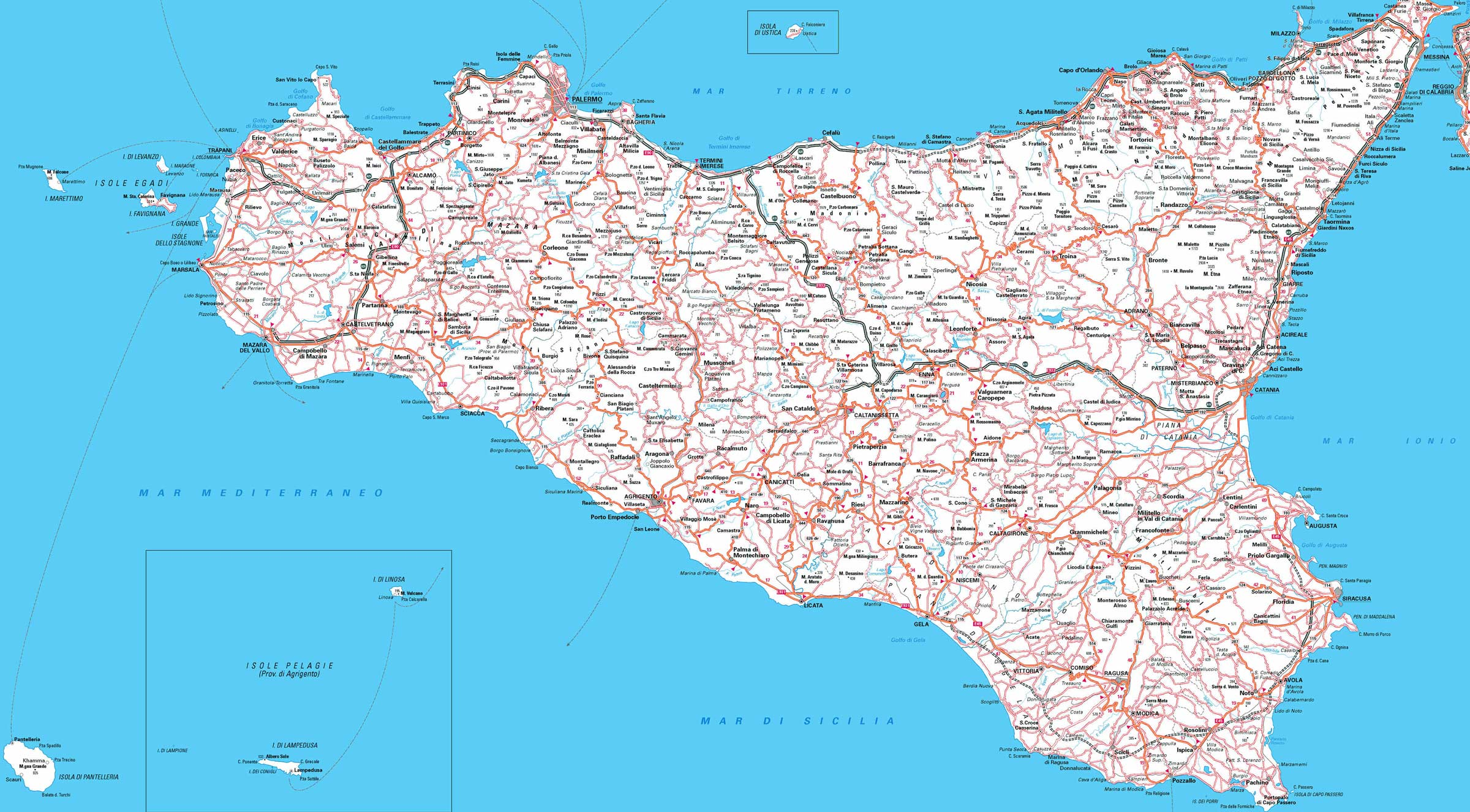 Sicily Map Detailed large map