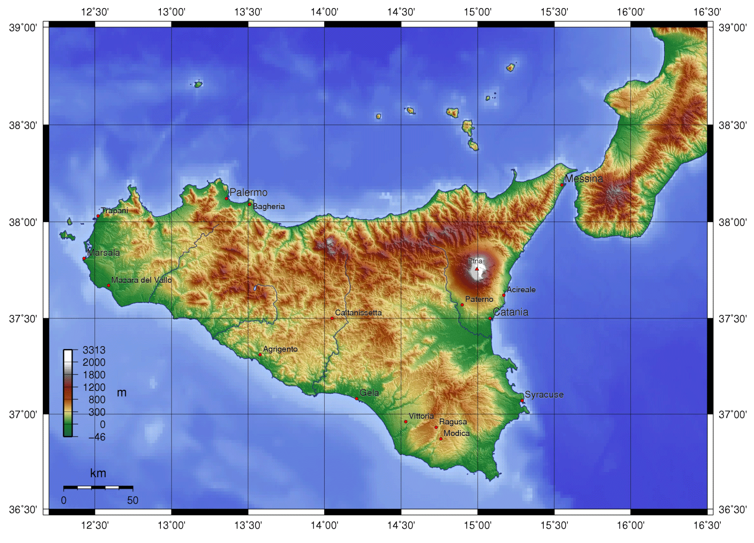 Sicily Topography large map