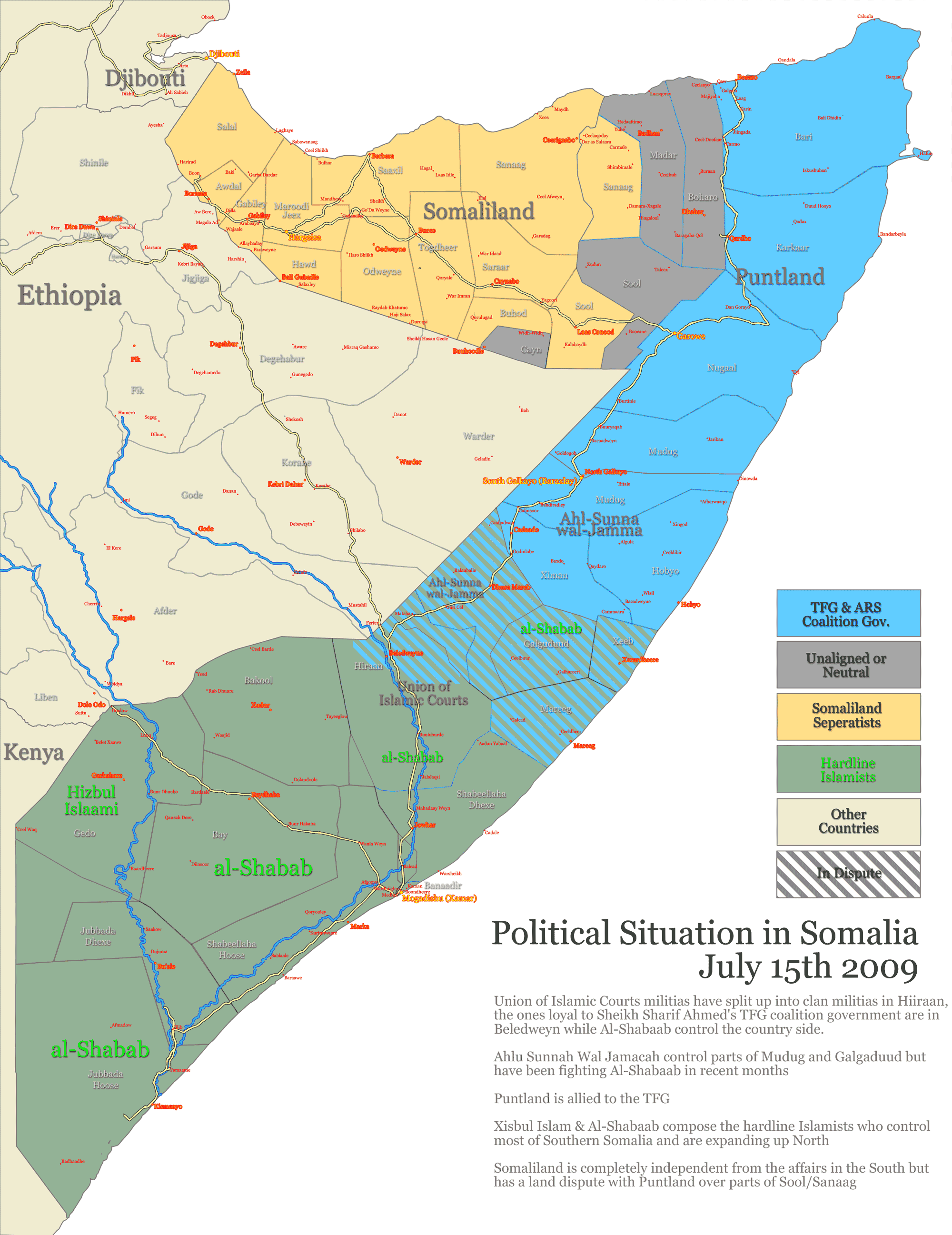 Somalia States Regions Districts large map