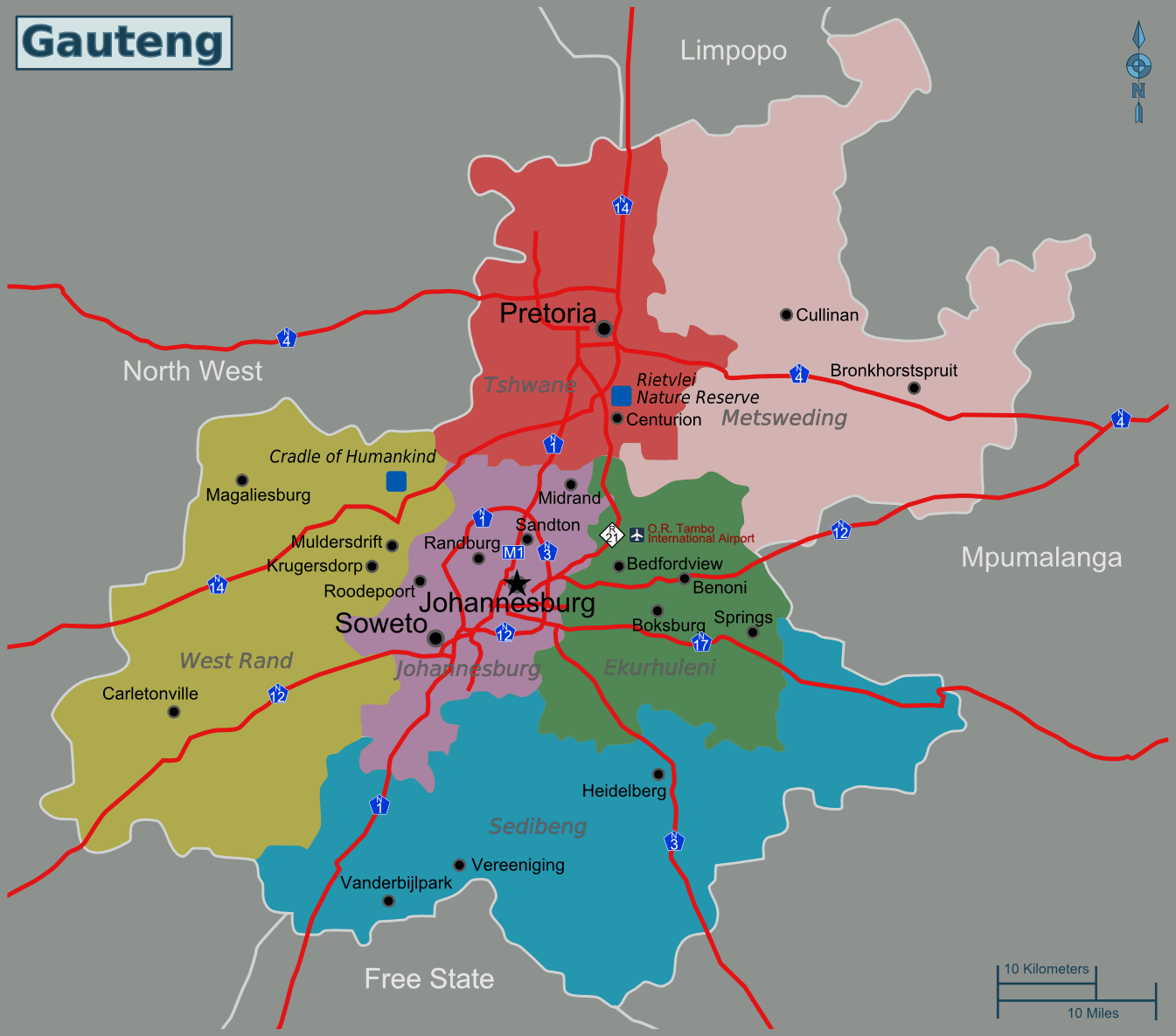 South Africa Gauteng Map Mapsofnet