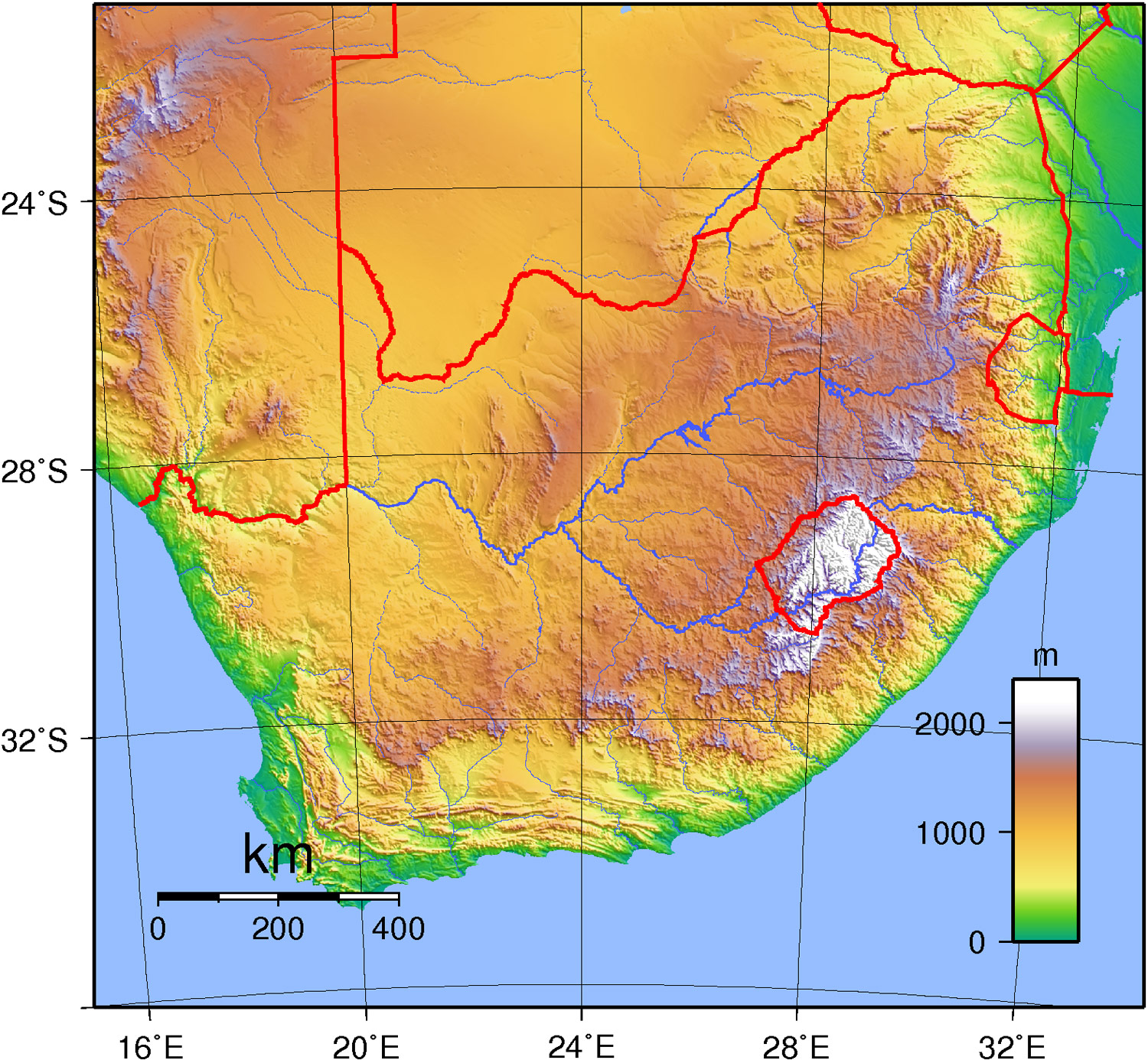 South Africa Topography large map