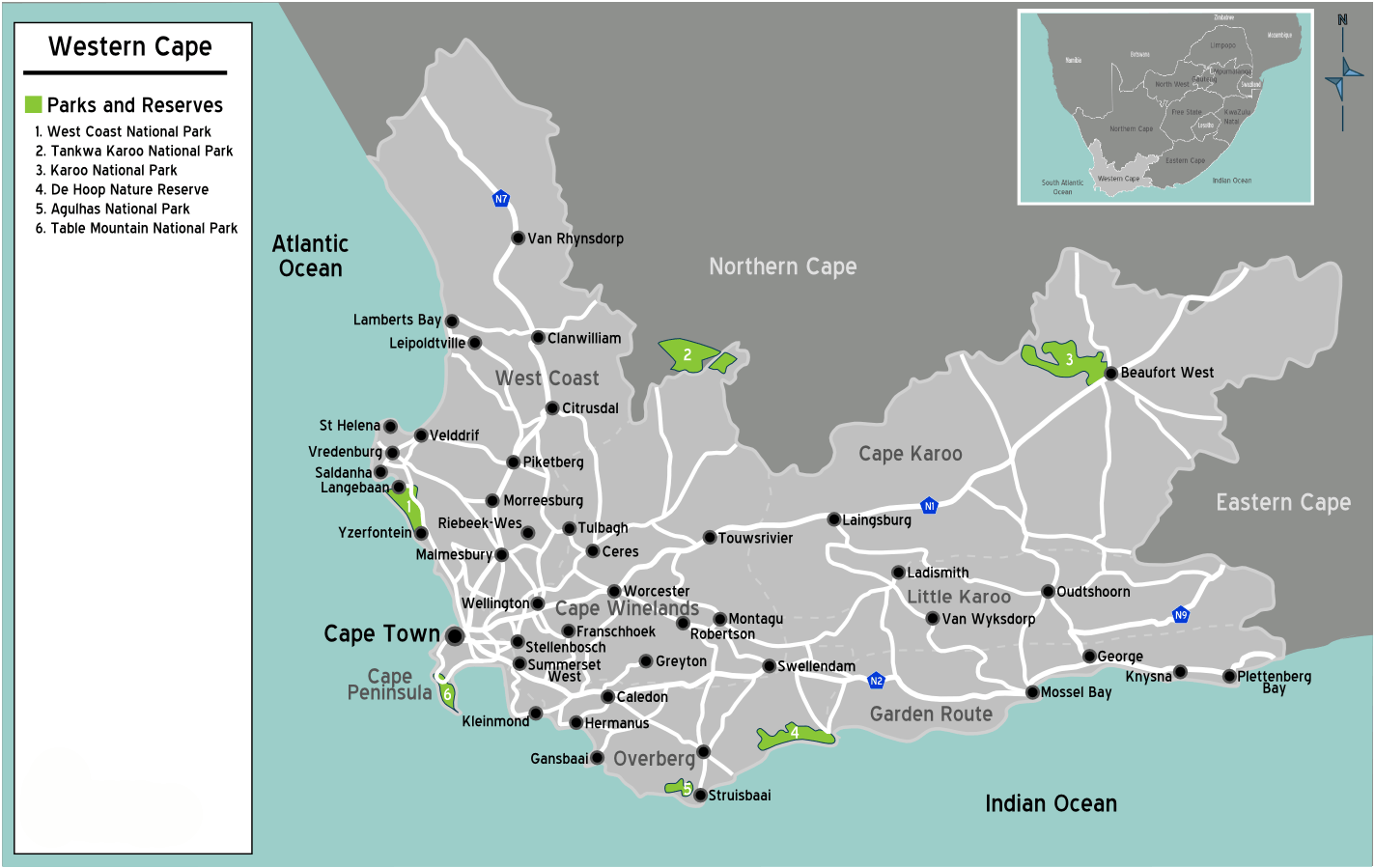 South Africa Western Cape Map large map