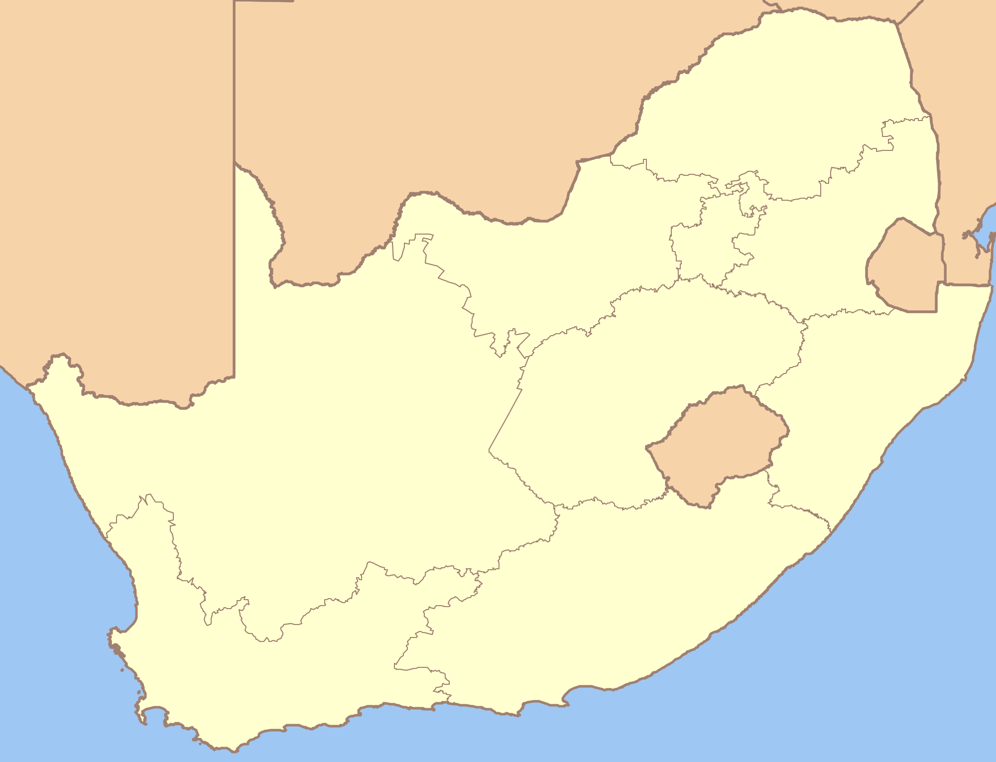 South Africa Blank Locator Map Mapsof Net