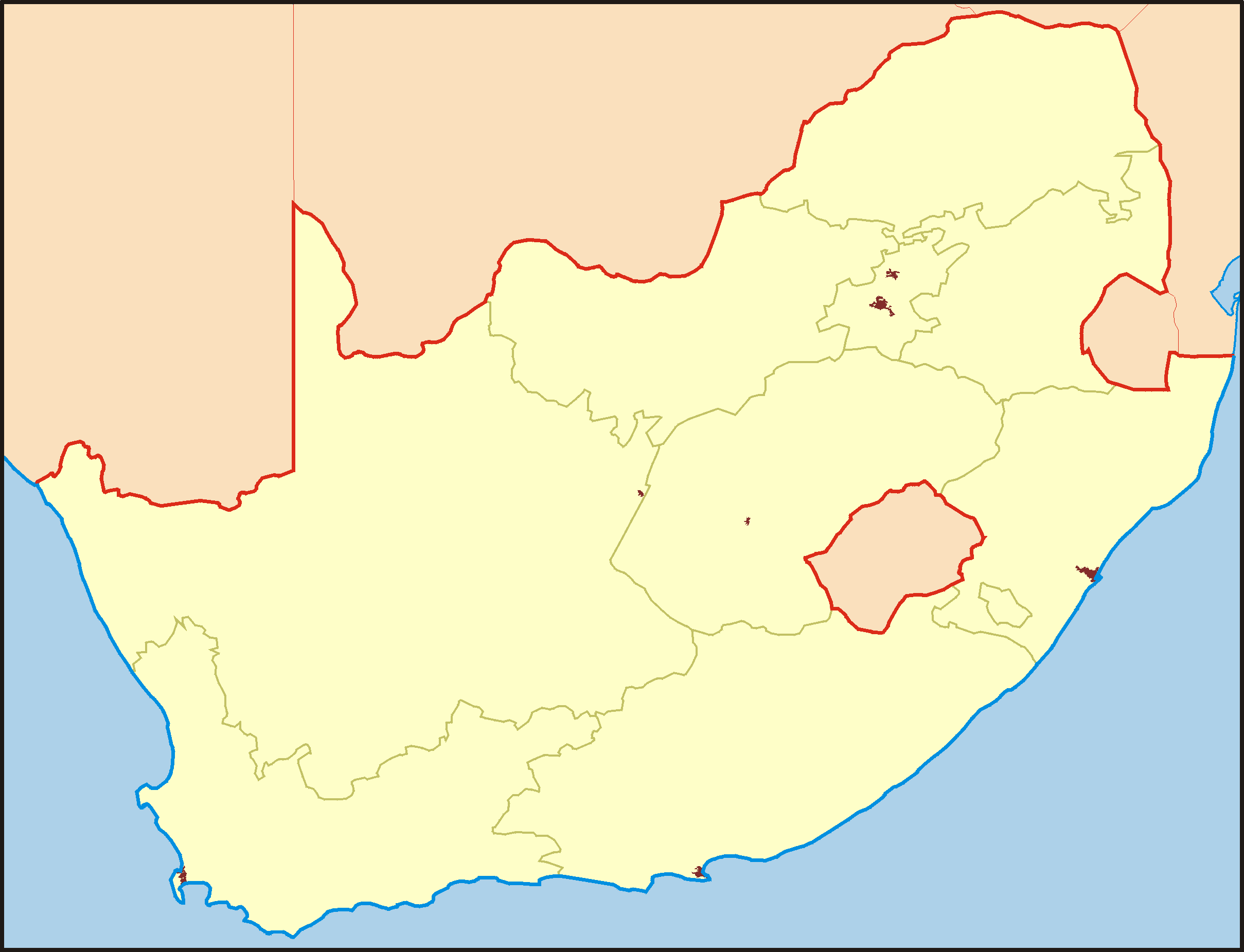 South Africa Ocation Mapsofnet - Blank map of south africa
