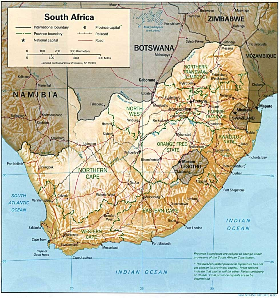 South Africa Relief Map large map