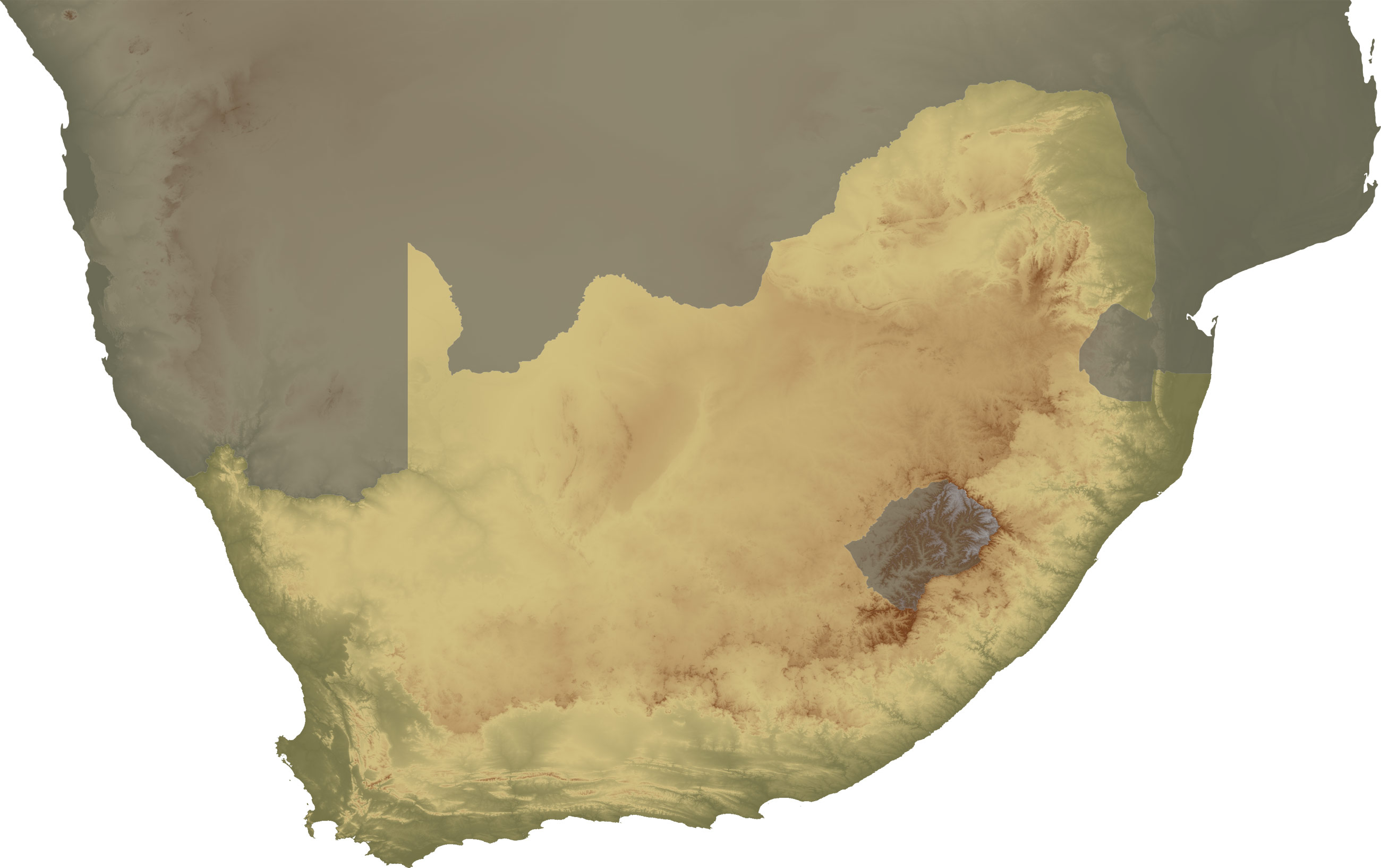 South Africa Topo Continent large map
