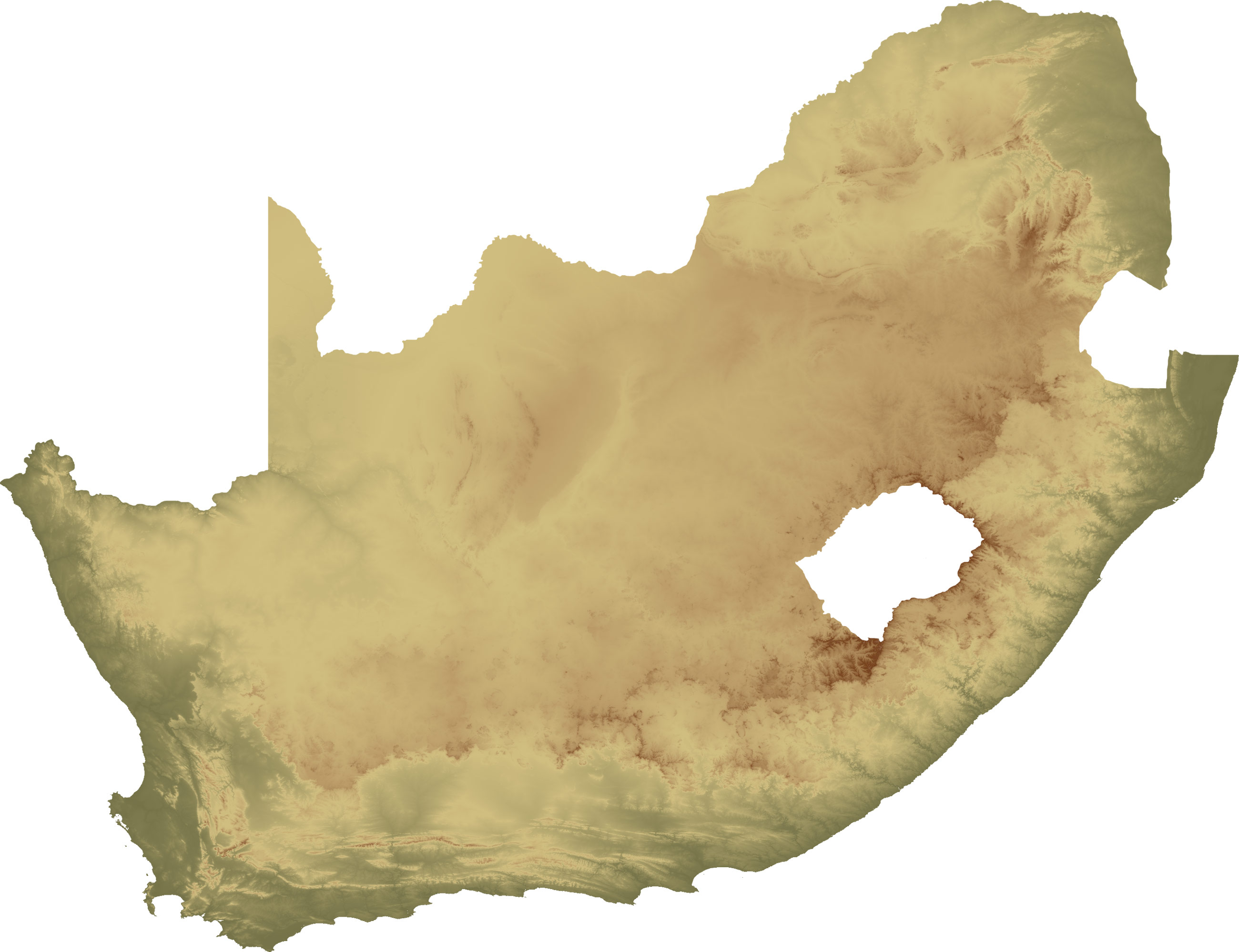 South Africa Topo Island large map