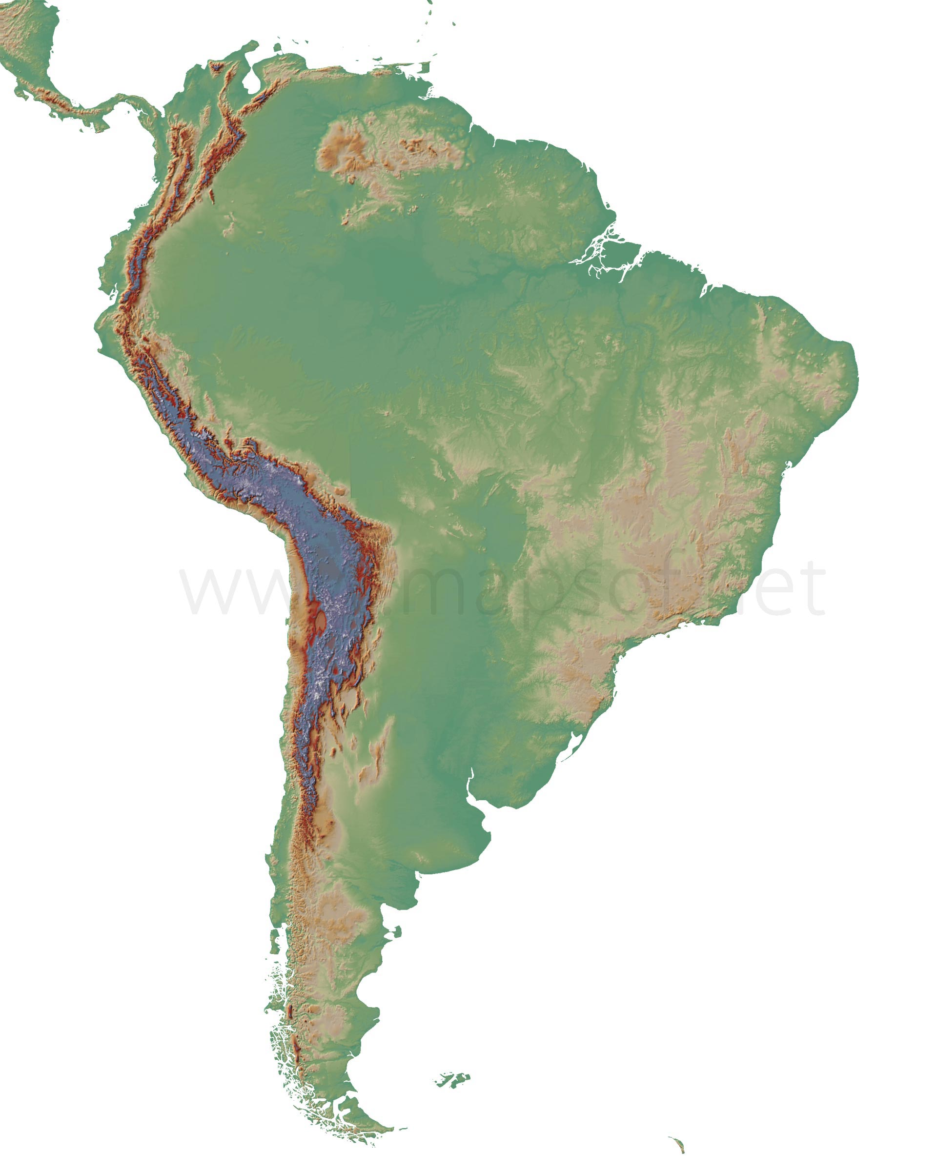 South America Blank Physical Map large map