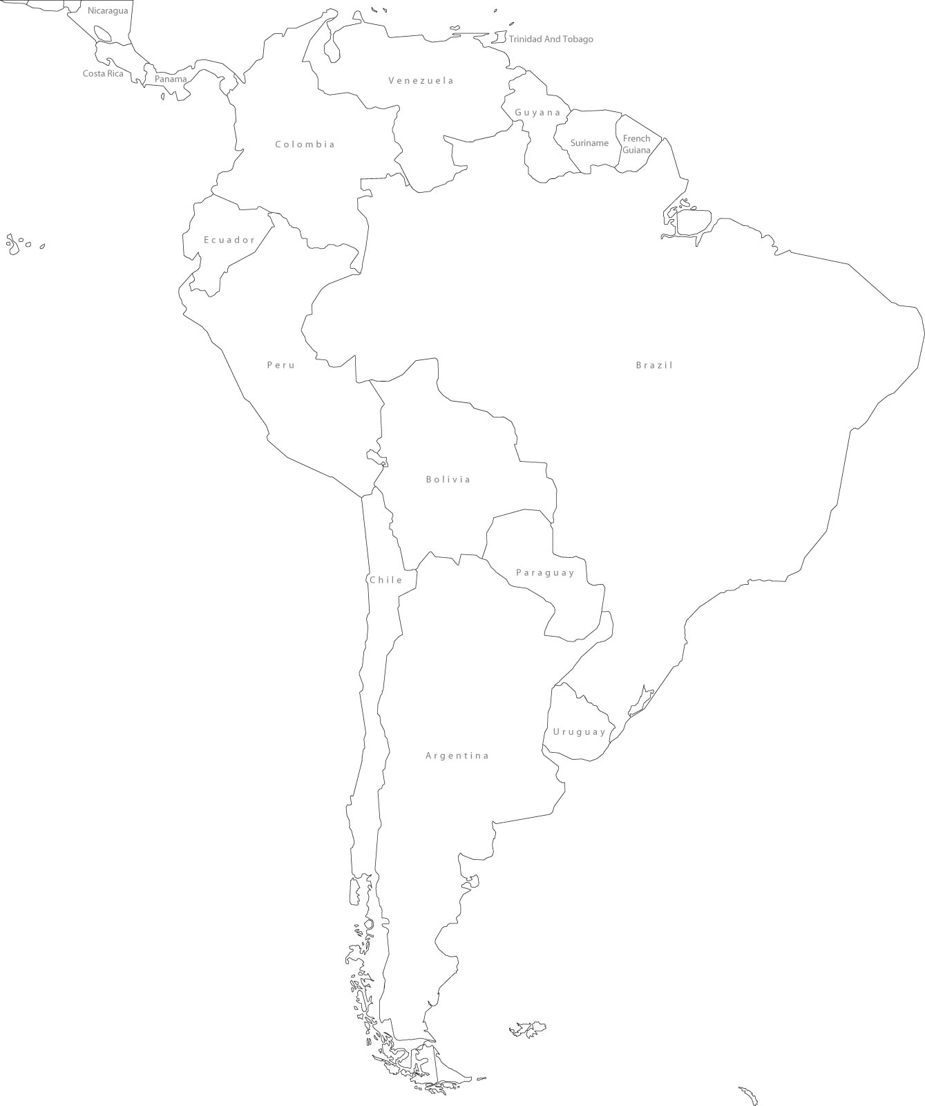 South America Blank Political Map large map