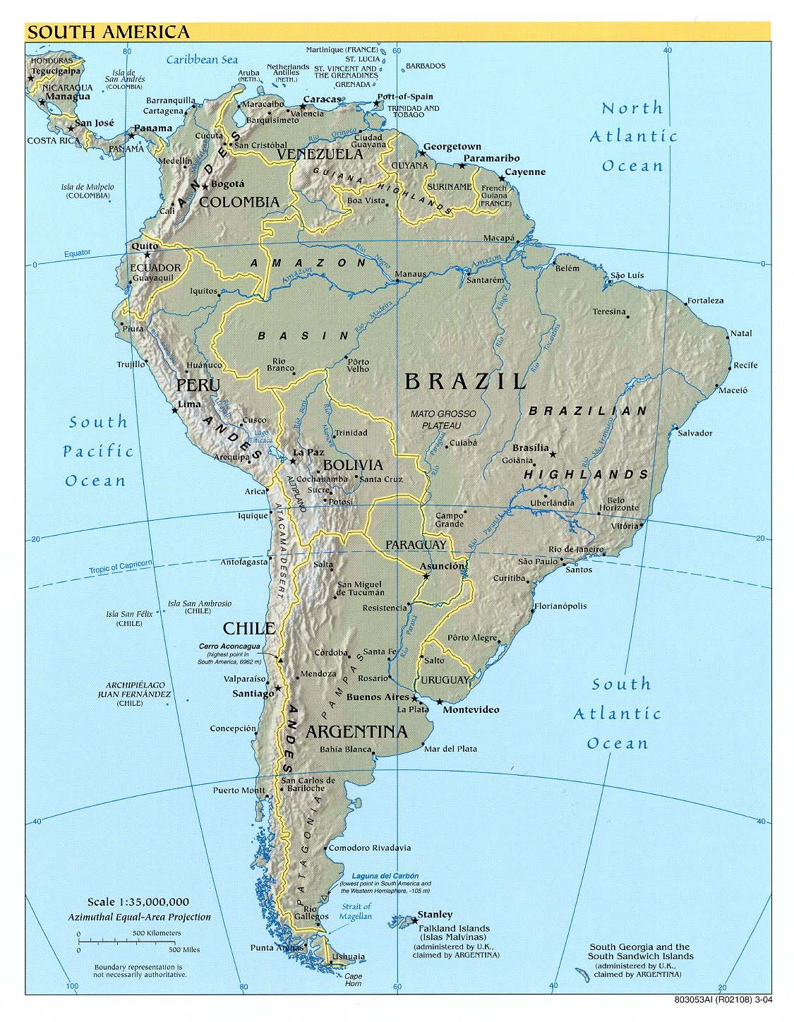 South America Physical Map 3 large map