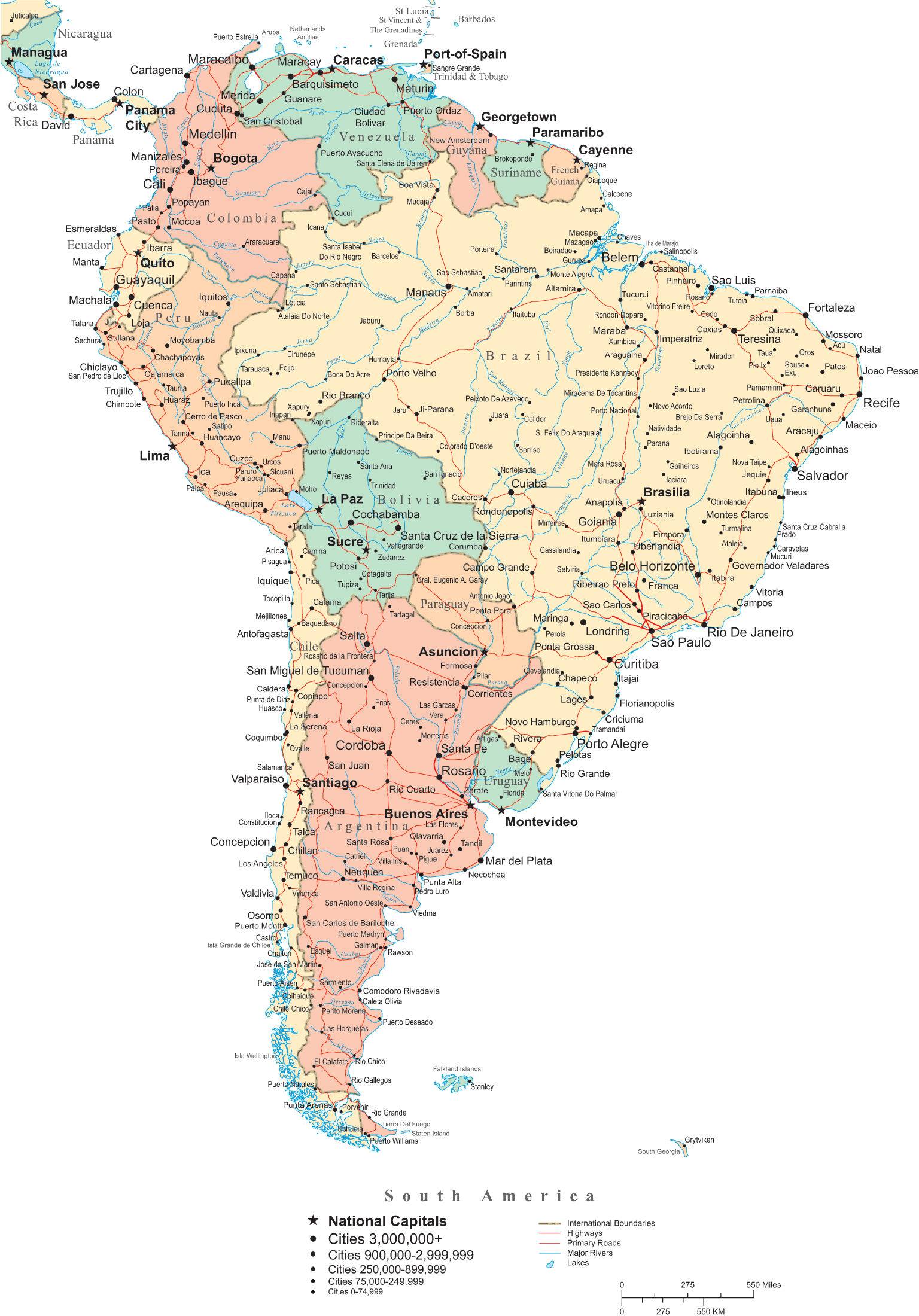 South America Political Map 1