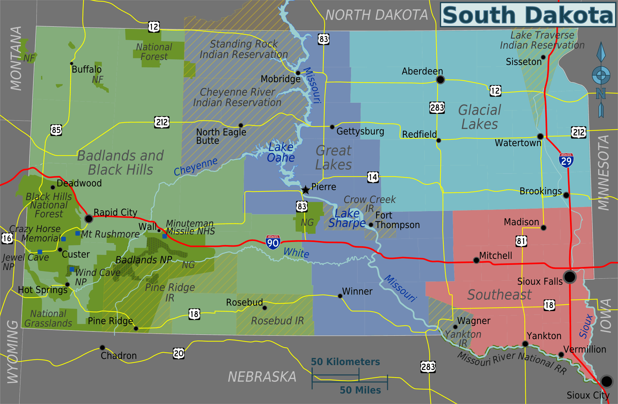 South Dakota Regions Map Mapsofnet - Political map of south dakota