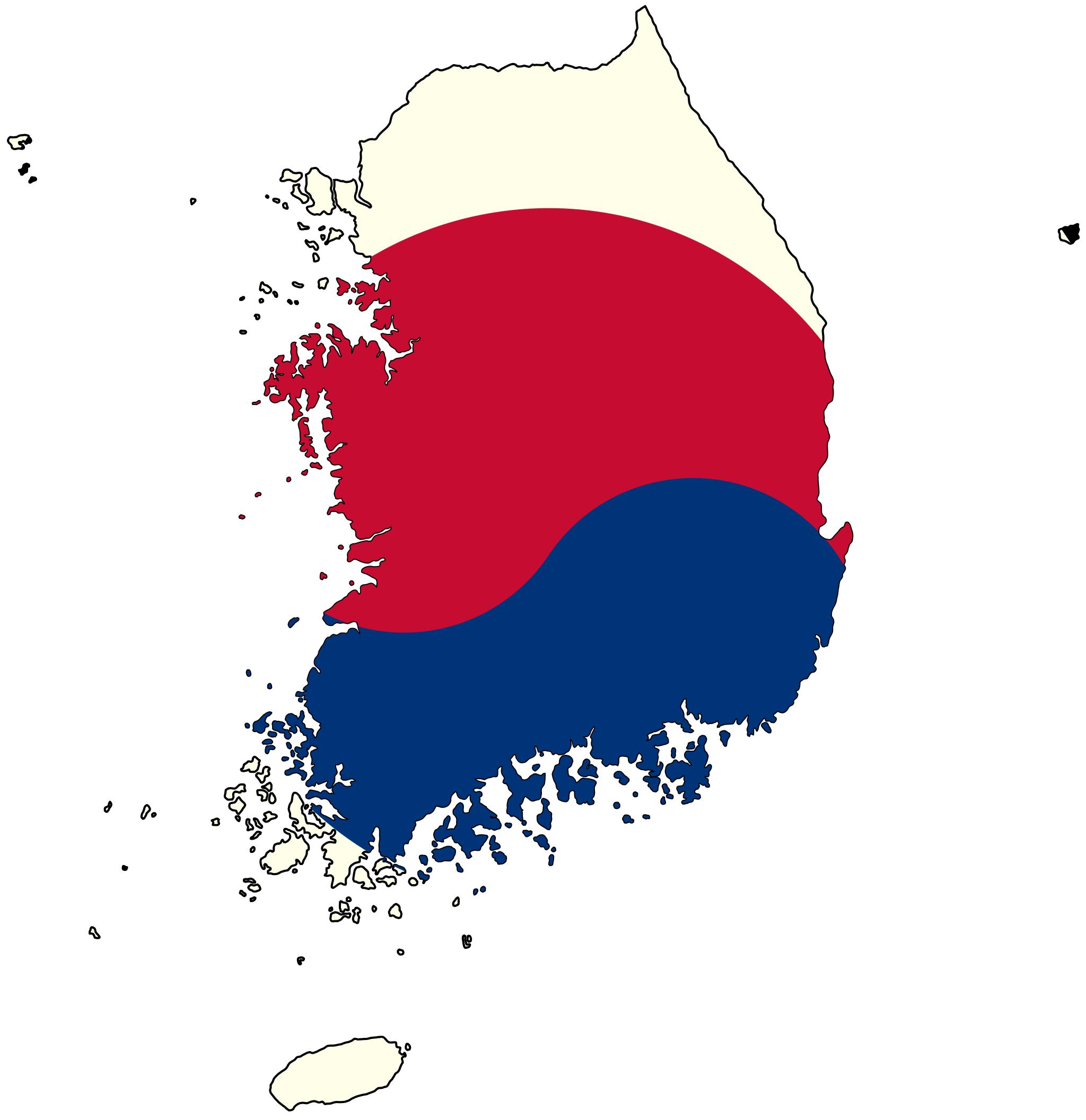 South Korea Flag Map • Mapsof.net on