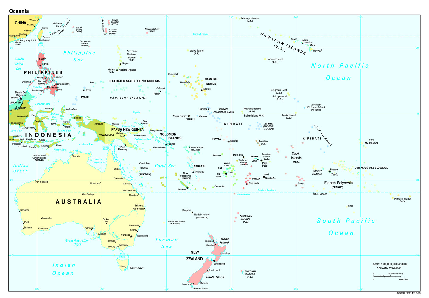 south pacific political map South Pacific Ocean Political Map Mapsof Net south pacific political map