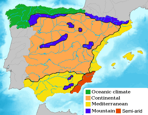 Spain Climate Map large map