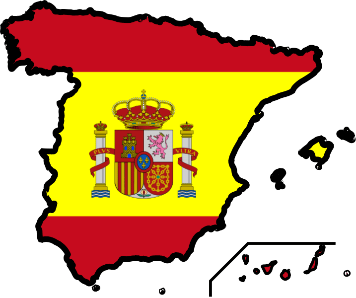 Spain Flag Map large map