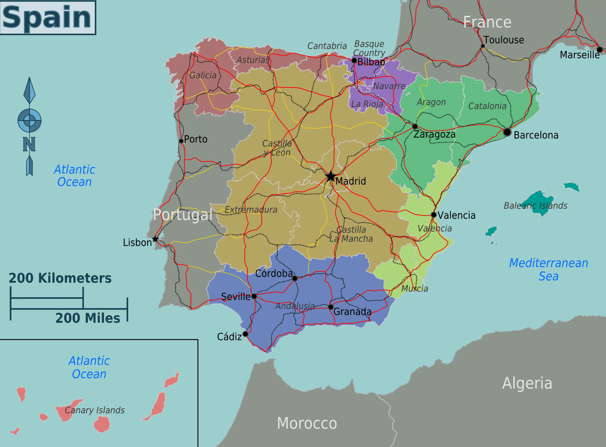 Full Map Of Spain.Spain Map Mapsof Net