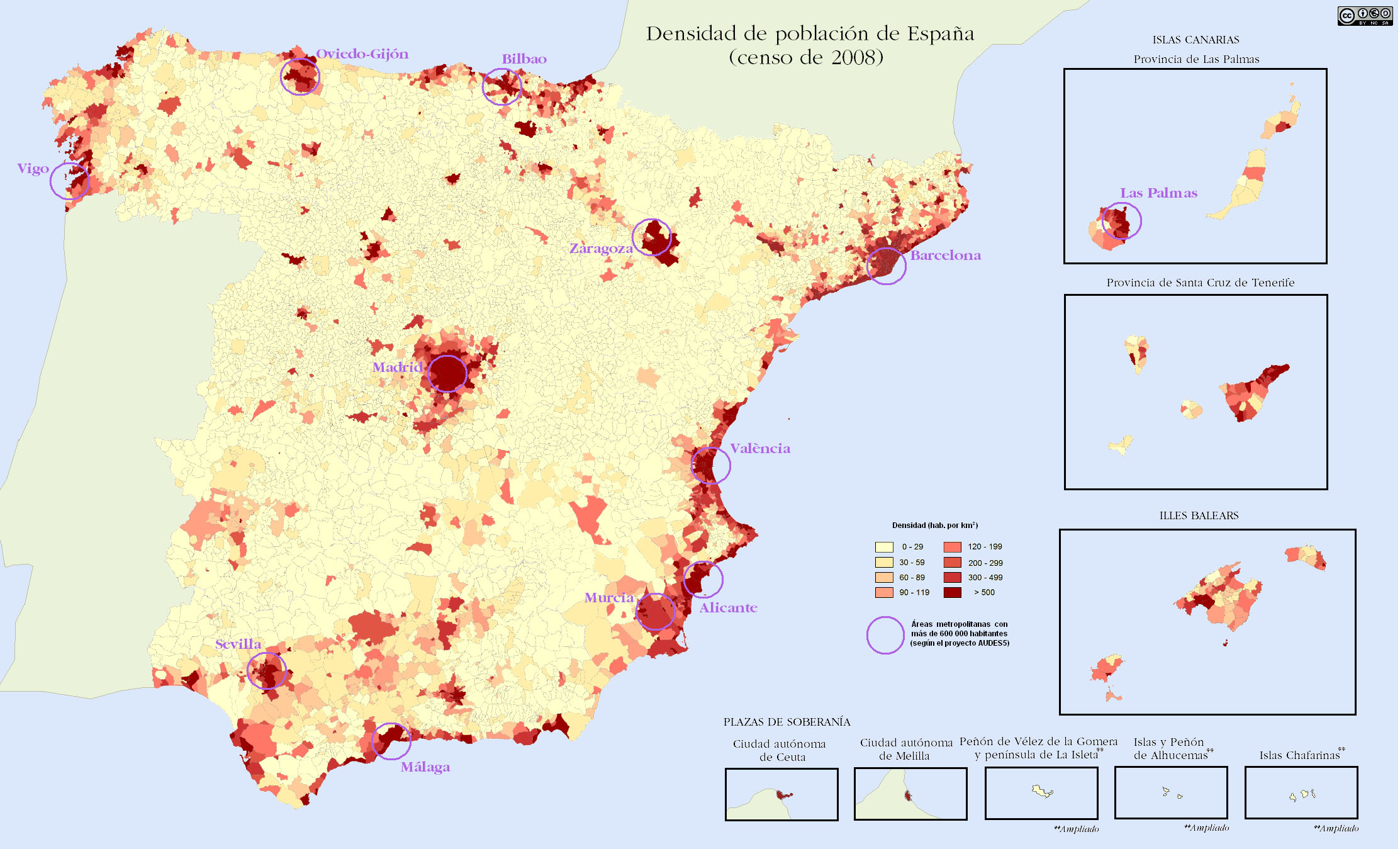 Spain Population Map 2008 large map