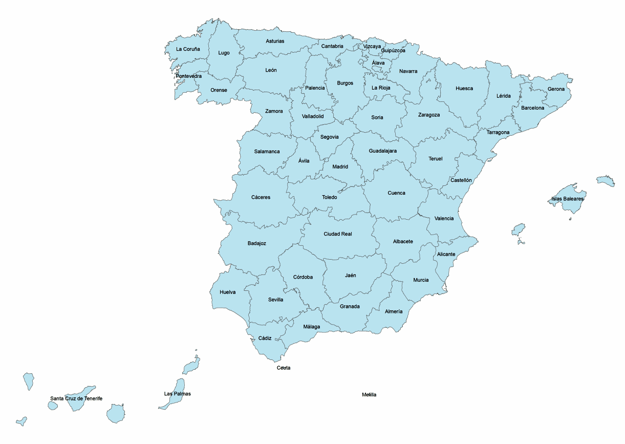 Spain Provinces • Mapsof.net